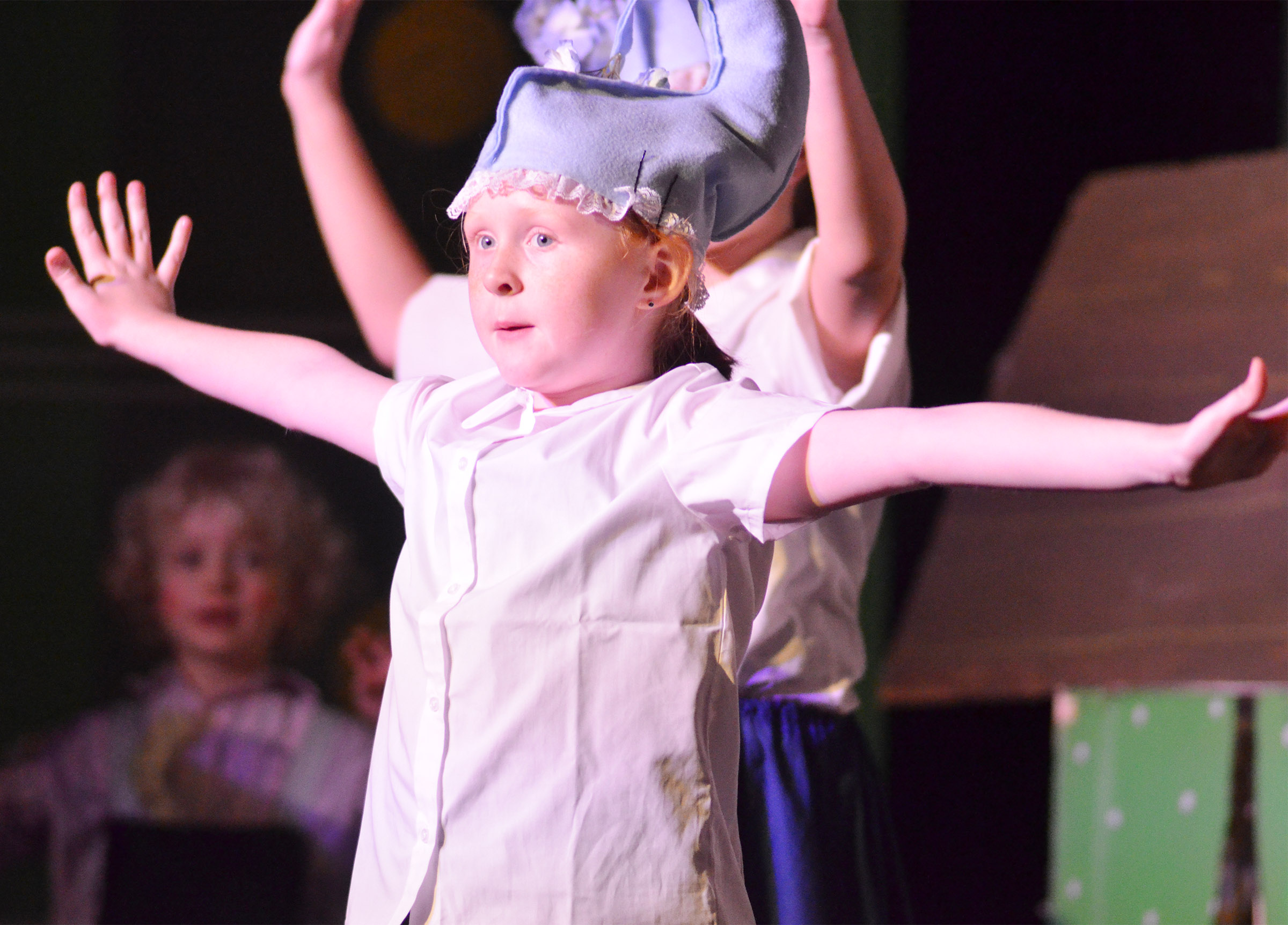 CES third-grader Nora Harris portrays a crow, jitterbug and lullaby league.