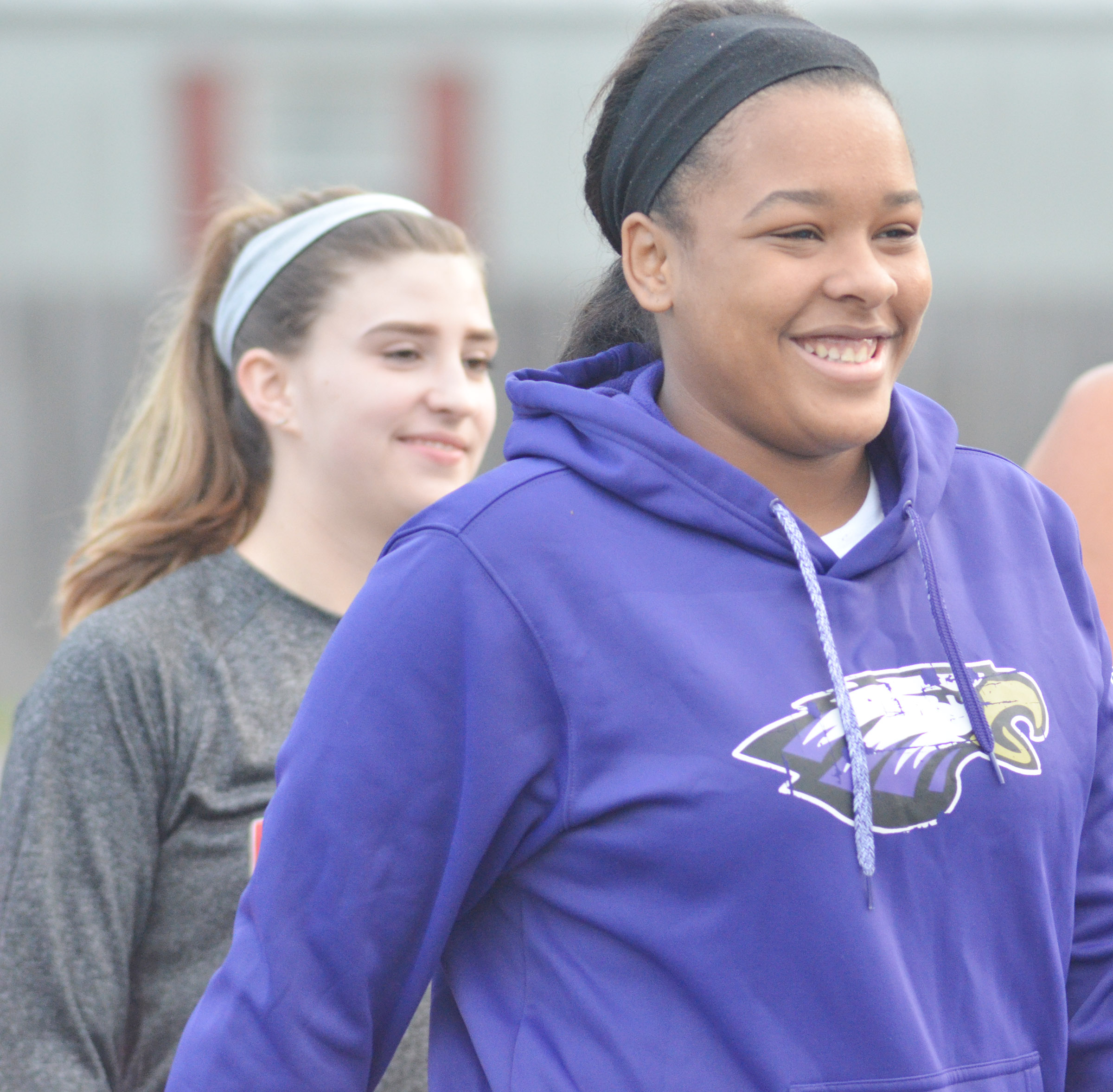 CHS senior Kayla Young is all smiles as she begins the 5K race.