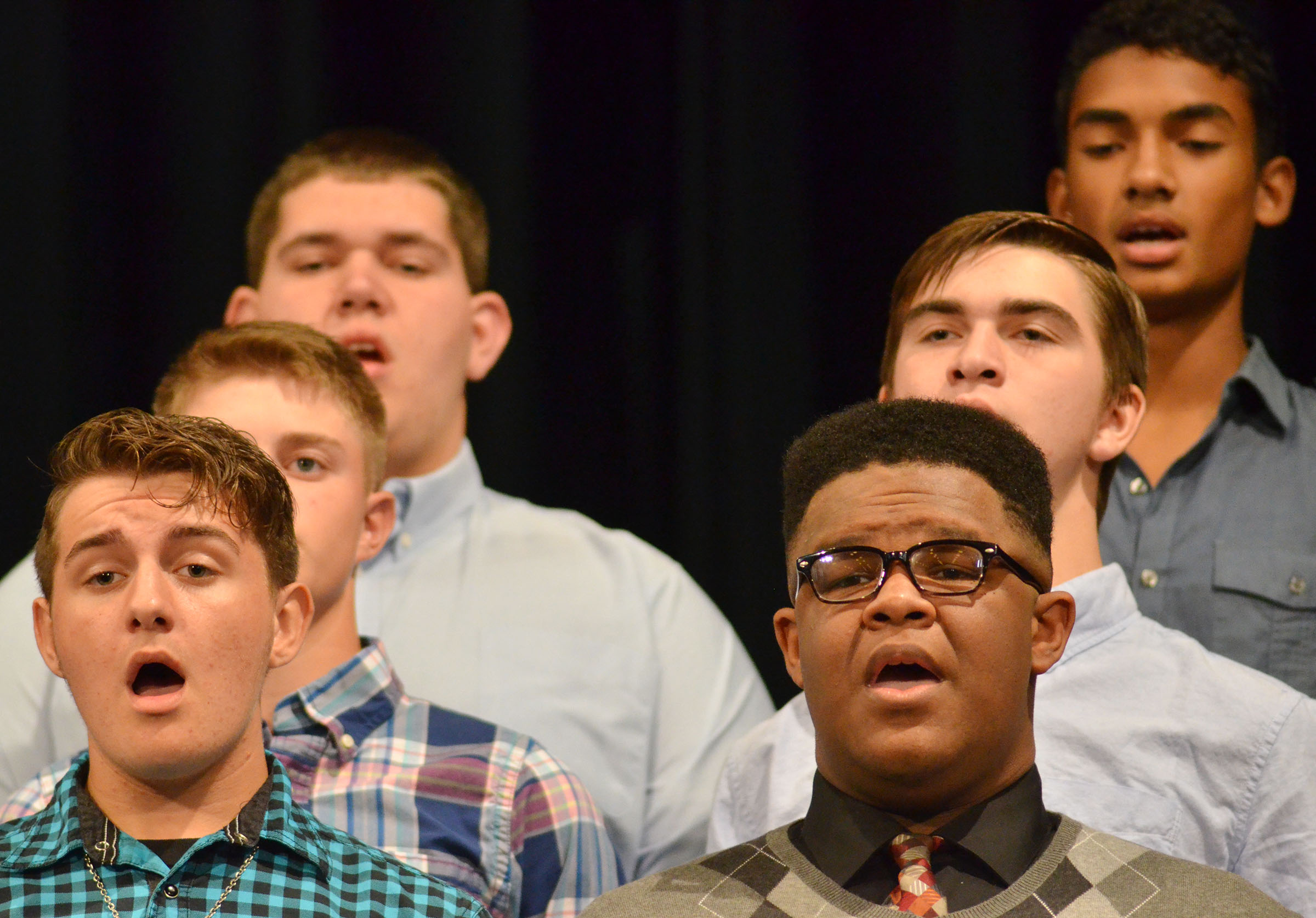 CHS junior Austin Fitzgerald, at left, and sophomore Jeremiah Jackson sing.