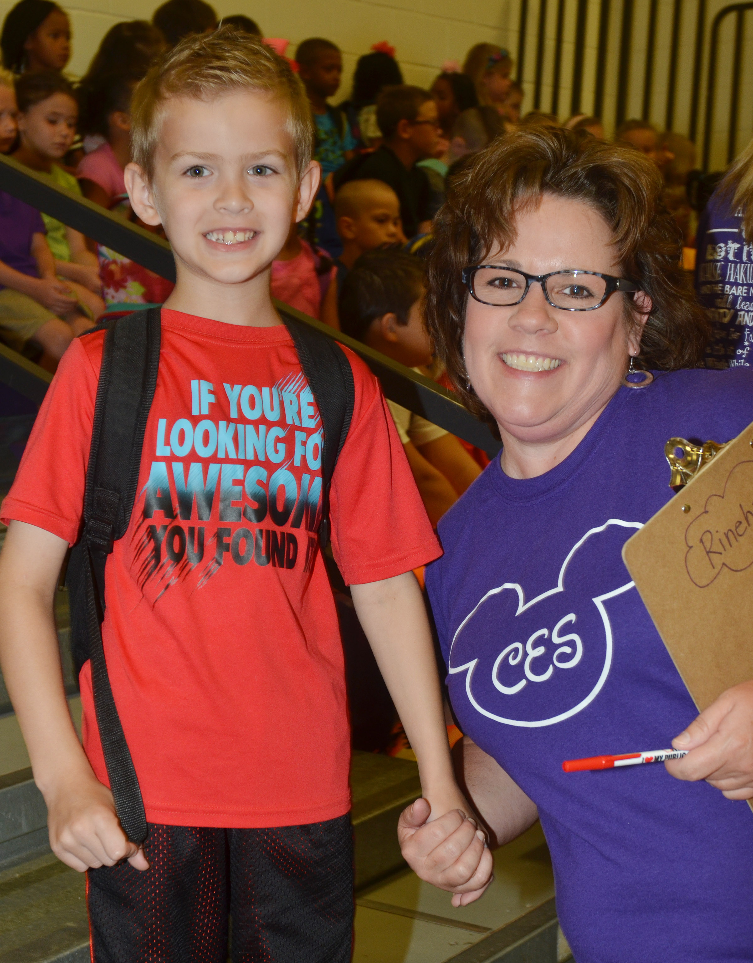CES second-grade teacher Tracey Rinehart poses for a photo with second-grader Logan Weddle.