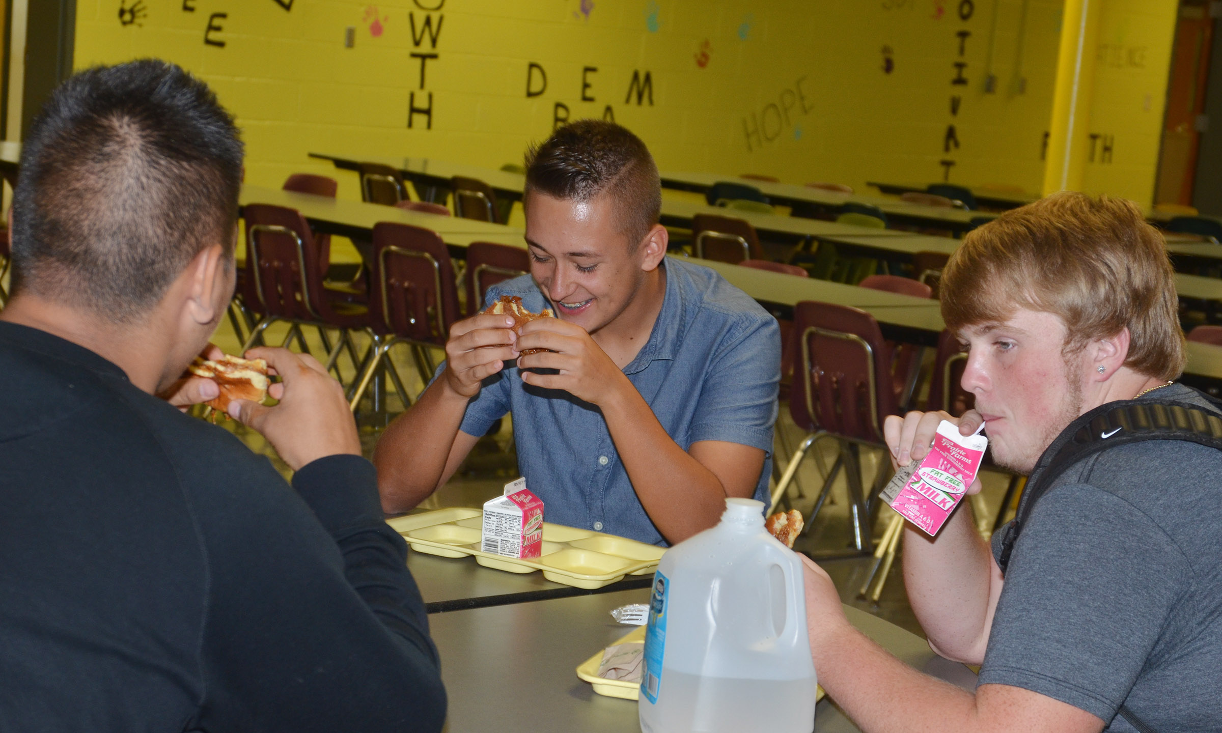 From left, CHS seniors Jericho Ramsey, Cody Davis and Ryan Jeffries eat lunch together.