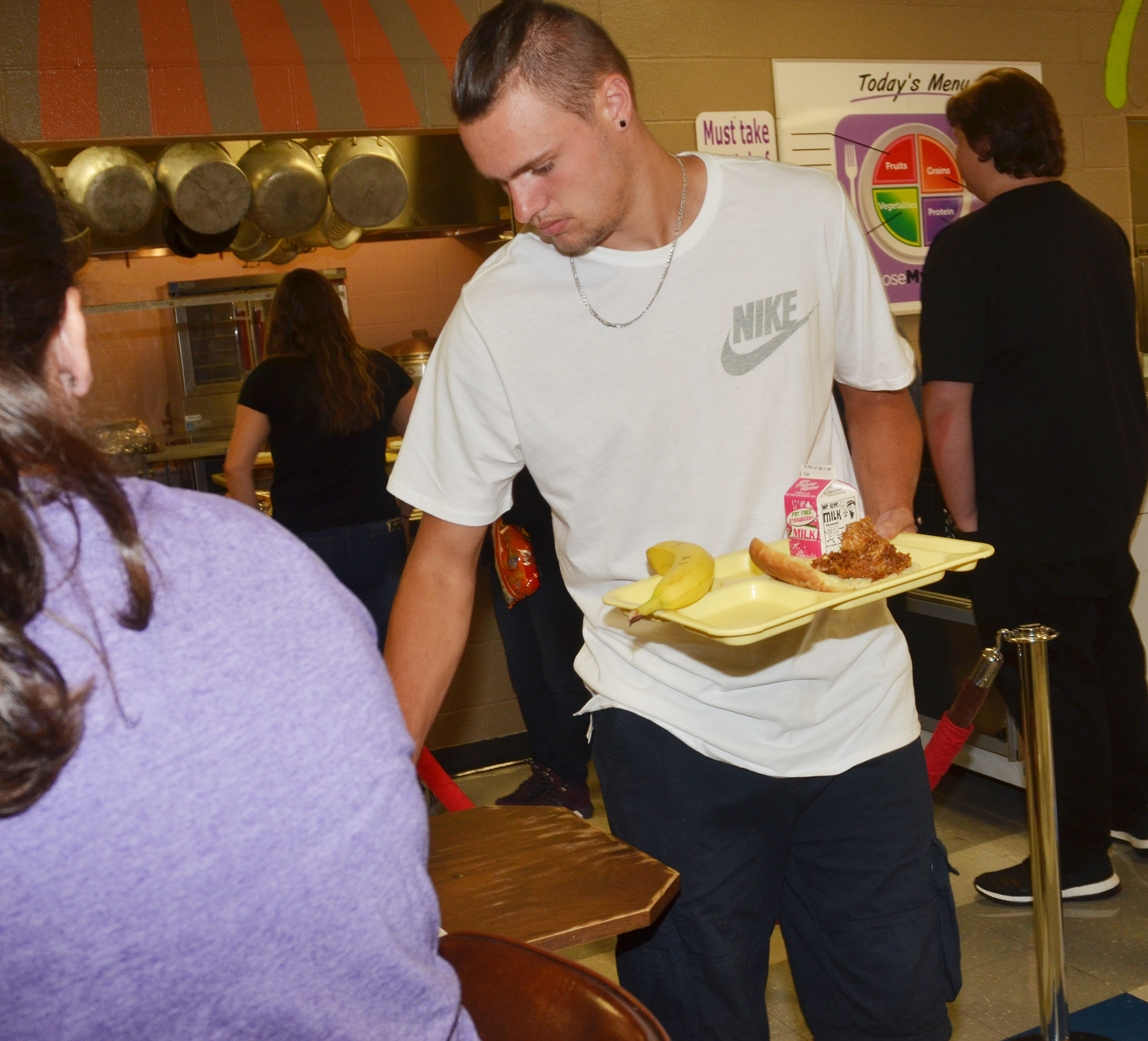 CHS senior Logan Cole gets his lunch.