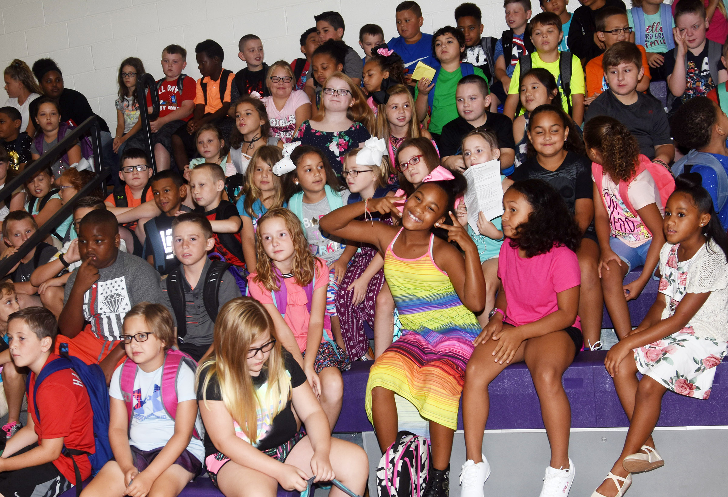 Campbellsville Elementary School students sit together at the first assembly of the school year.