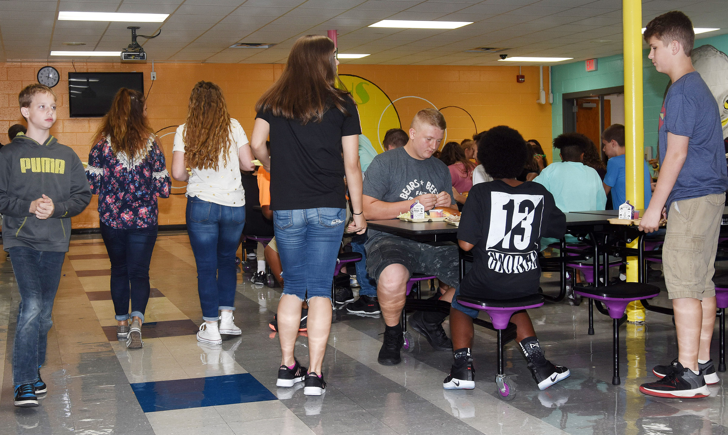 Campbellsville Middle School students enjoy their lunch.