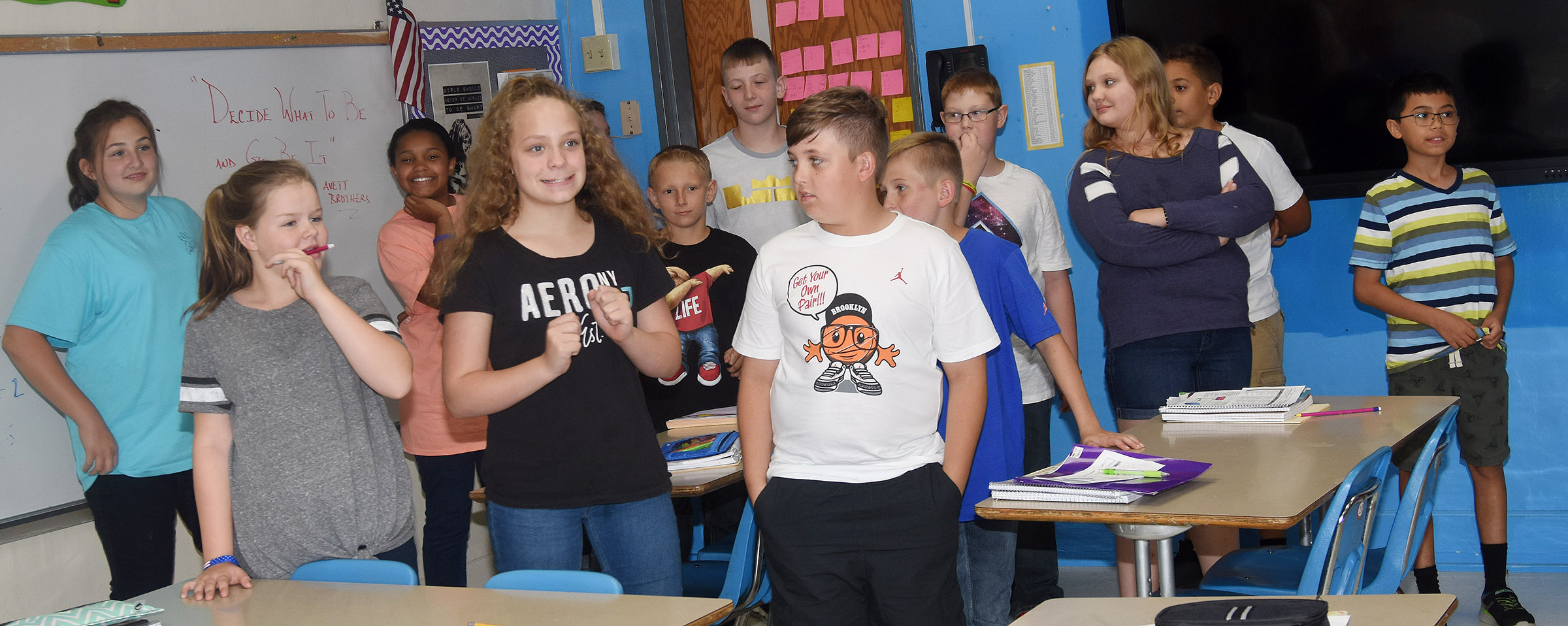 Campbellsville Middle School sixth-graders play a game to see how well they know teacher LeeAnn Grider.