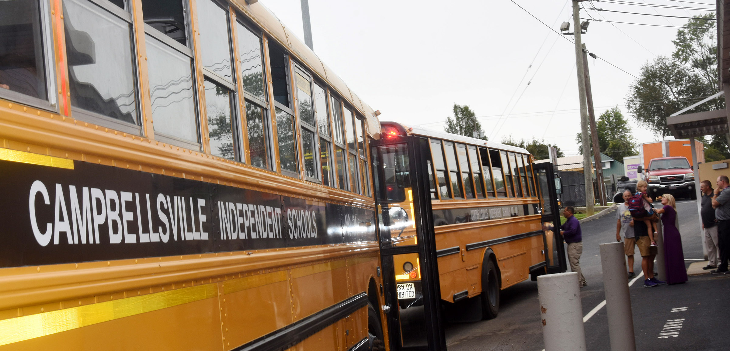Campbellsville Independent Schools' students catch the bus as they go home at the end of the day.