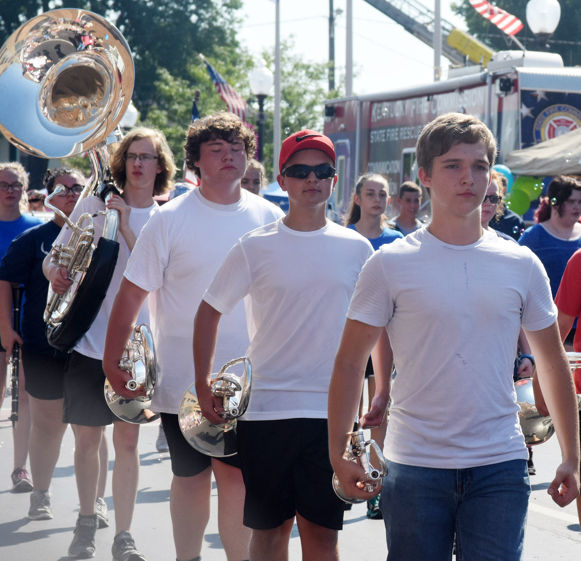Campbellsville High School sophomore Tristin Lopez, at right, marches with the band.