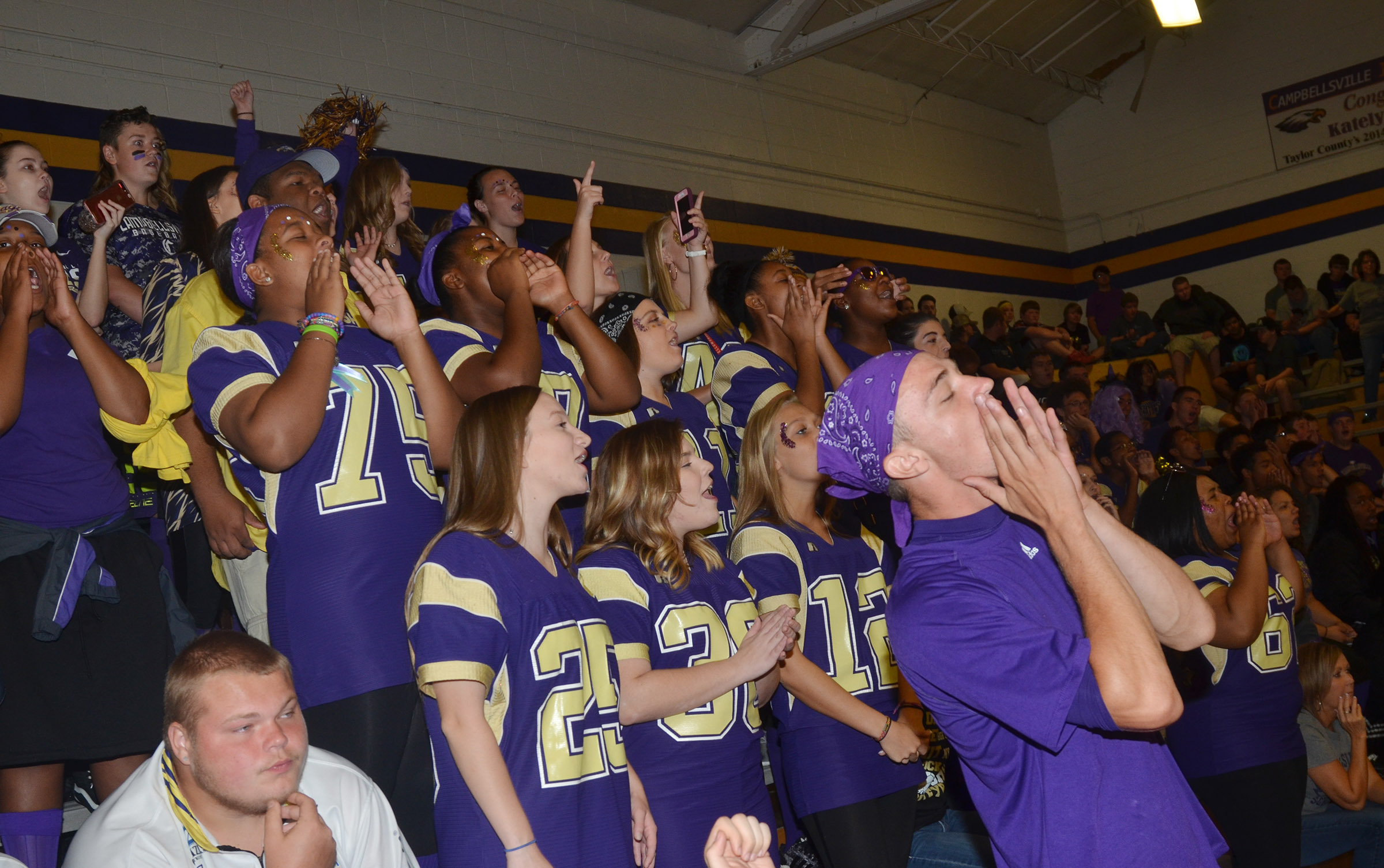 CHS students cheer as their classmates play a spirit game.