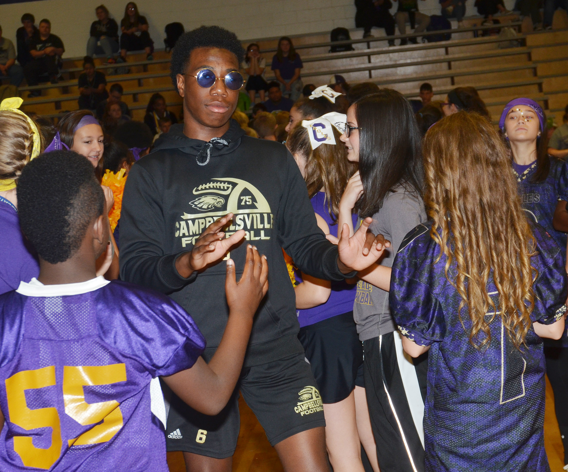 CHS sophomore Malachi Corley is introduced with his football teammates.