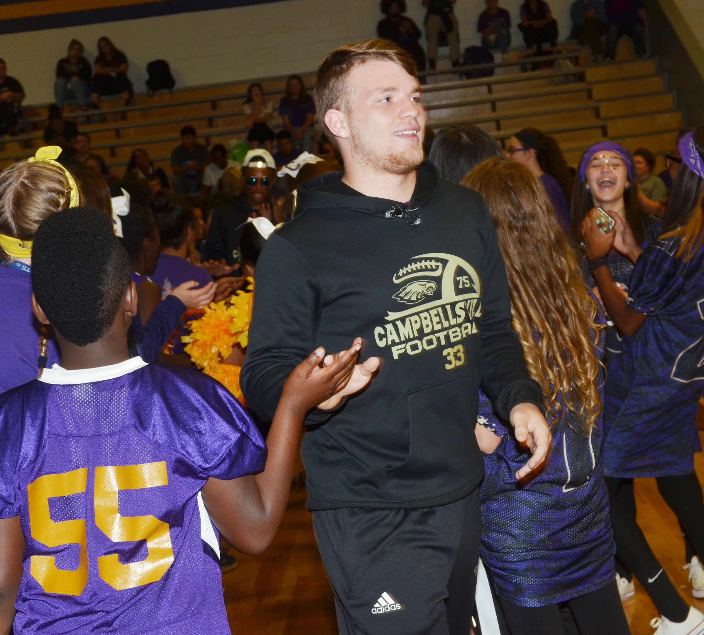 CHS junior Dakota Reardon is introduced with his football teammates.