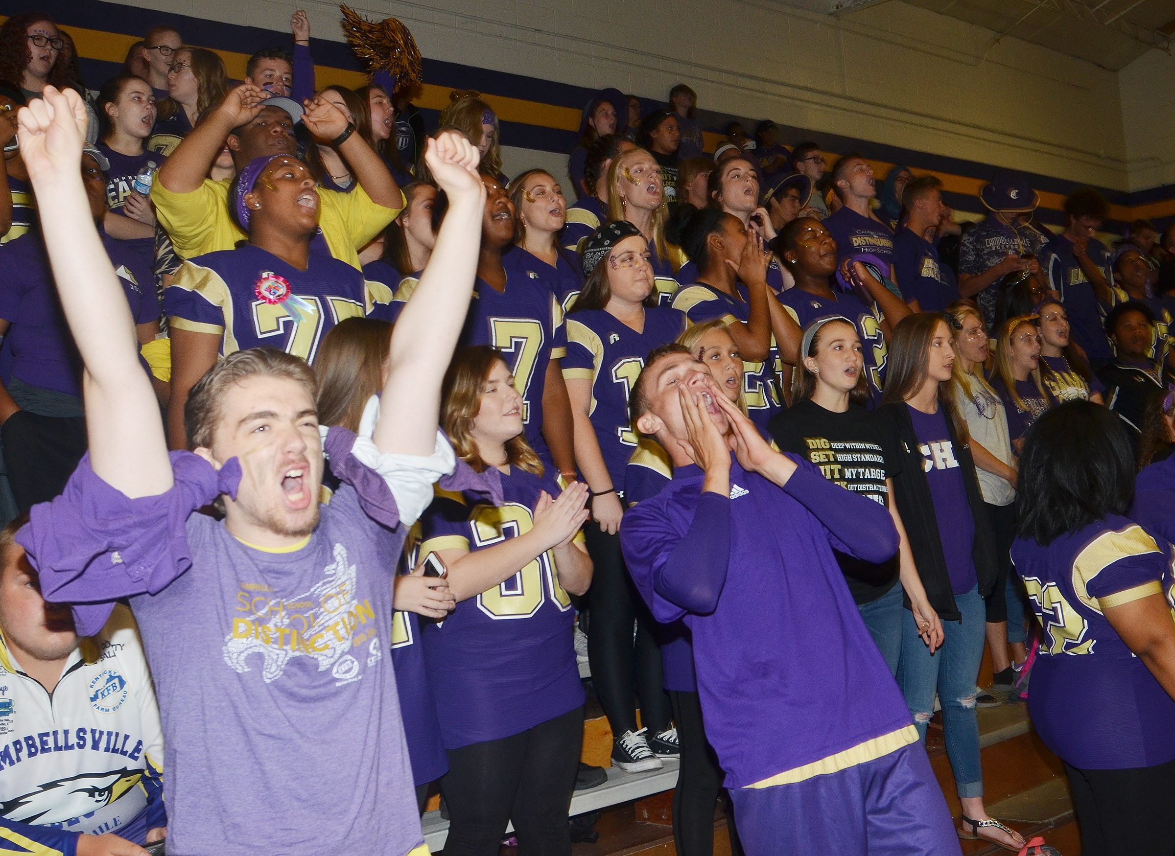 CHS CHS sophomore Anthony Shipione, at left, and his classmates cheer.cheer as they are announced as the winners of this year's spirit stick.