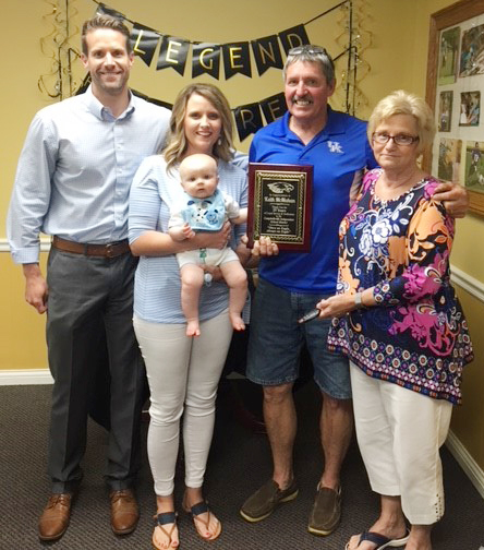 Campbellsville Independent Schools Facilities Manager Keith McMahan will retire on June 30, after 25 years of service. A luncheon was hosted in his honor on Friday, May 18. He is pictured with his wife Marilyn, son Jeff, daughter Stephanie and grandson Myles.