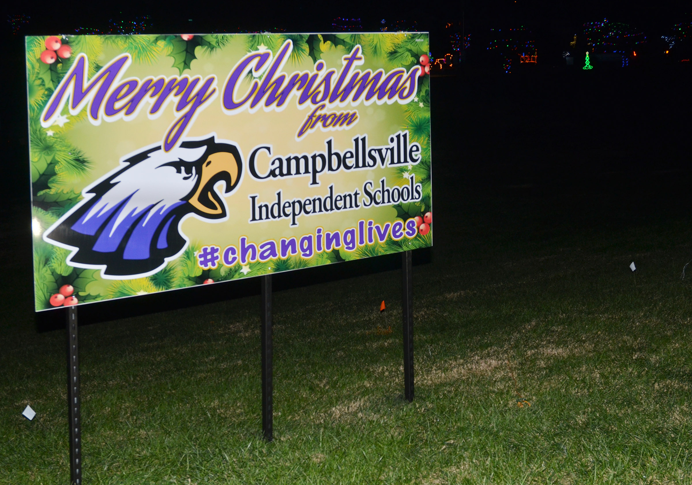 Campbellsville Independent Schools is spreading Christmas wishes to the Campbellsville and Taylor County community by displaying this message in Miller Park.