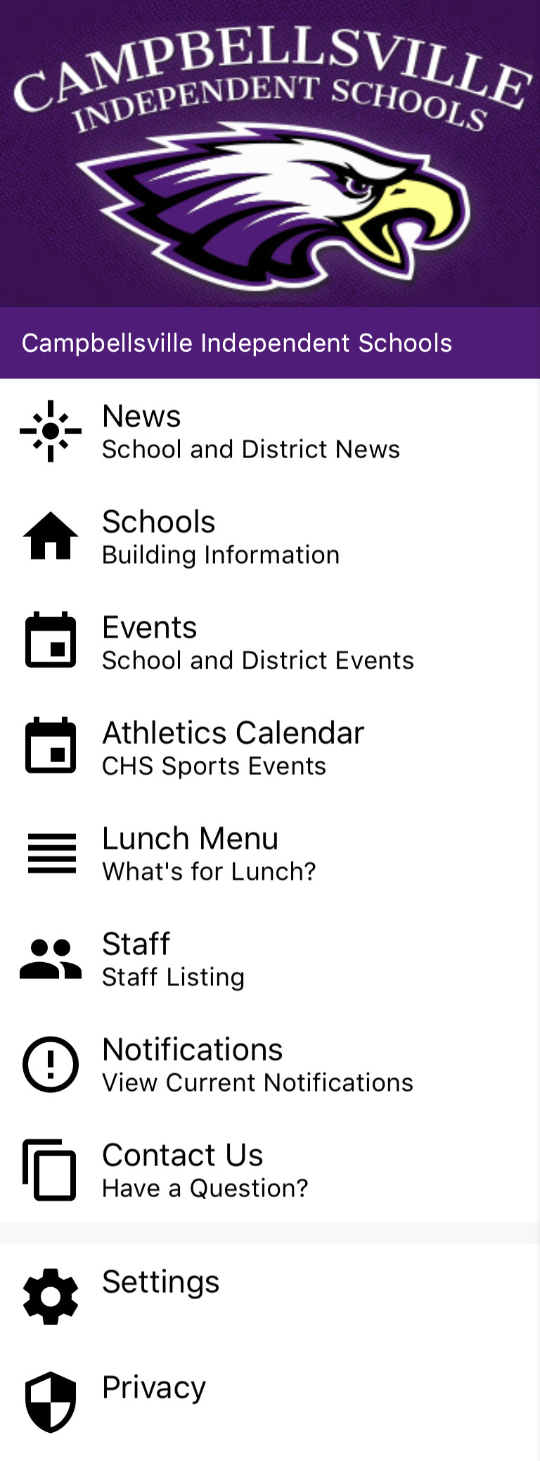 Campbellsville Independent Schools' free mobile app is available for download on all smartphones and tablets.