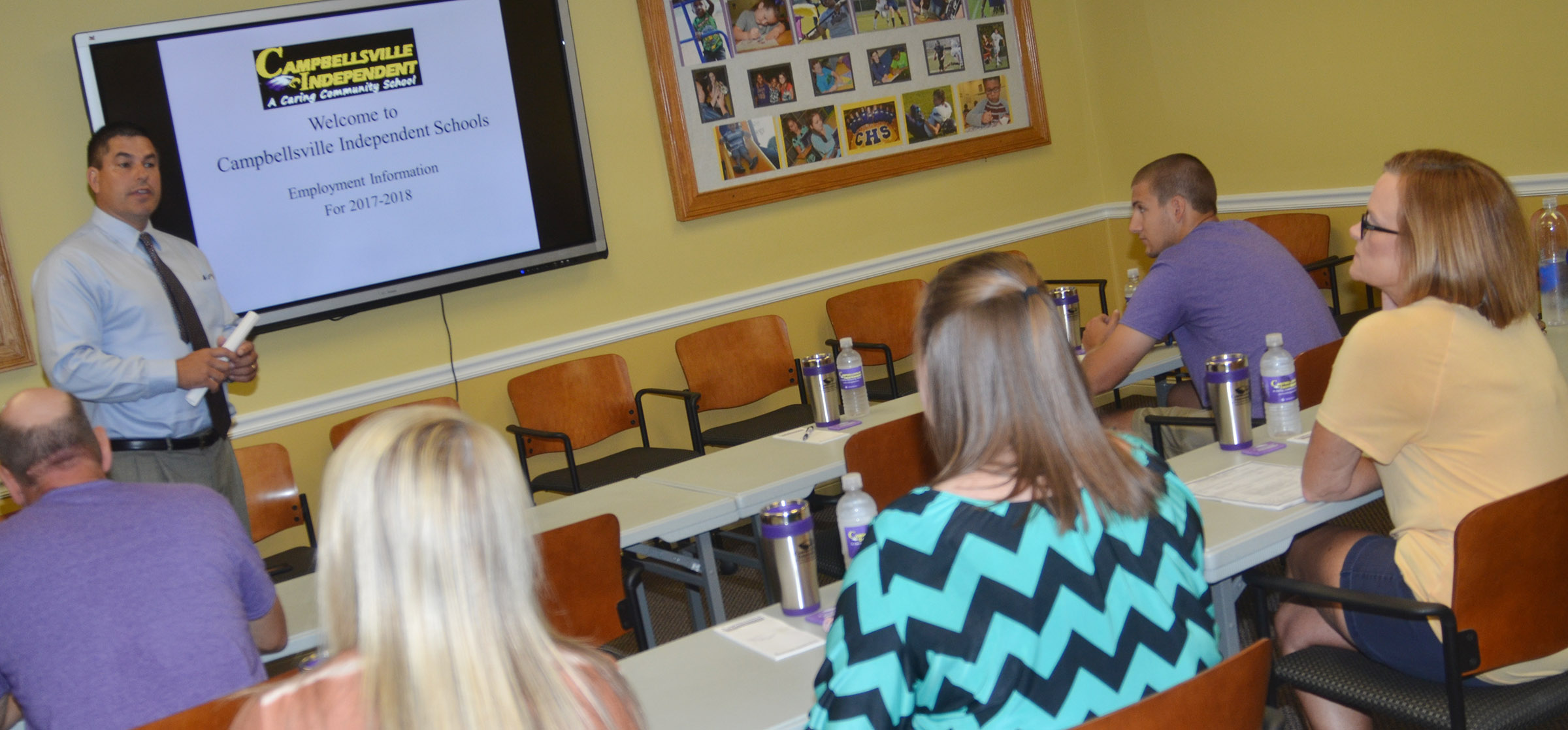 Campbellsville Independent Schools Superintendent Kirby Smith talks to new employees at an orientation on Thursday, Aug. 3.
