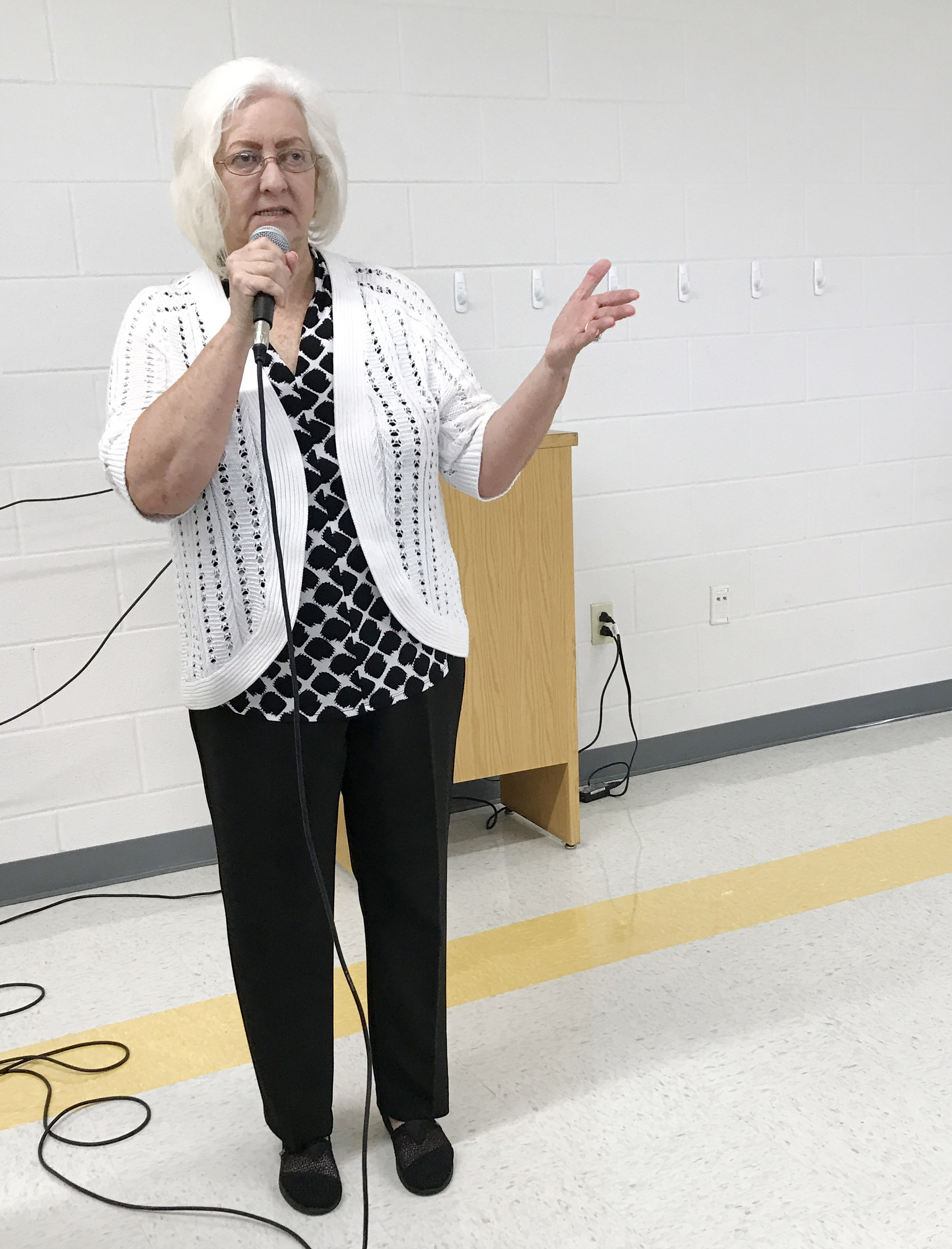 Campbellsville Board of Education Chair Pat Hall talks to the District's staff members during the opening day workshop for the 2017-2018 school year.