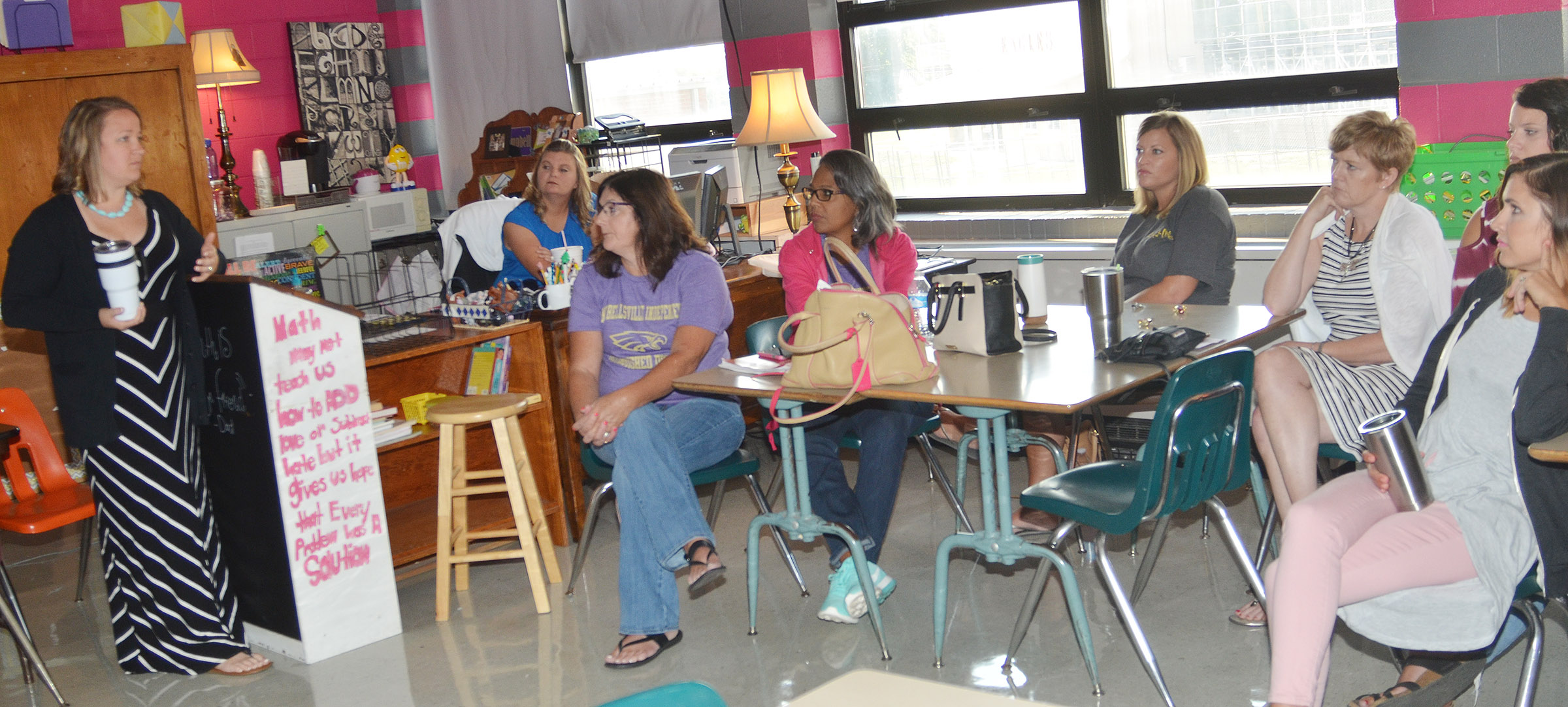 CMS teacher Katie Campbell, at left, and CES teacher Tammy Hash, second from left, lead a session about co-teaching.