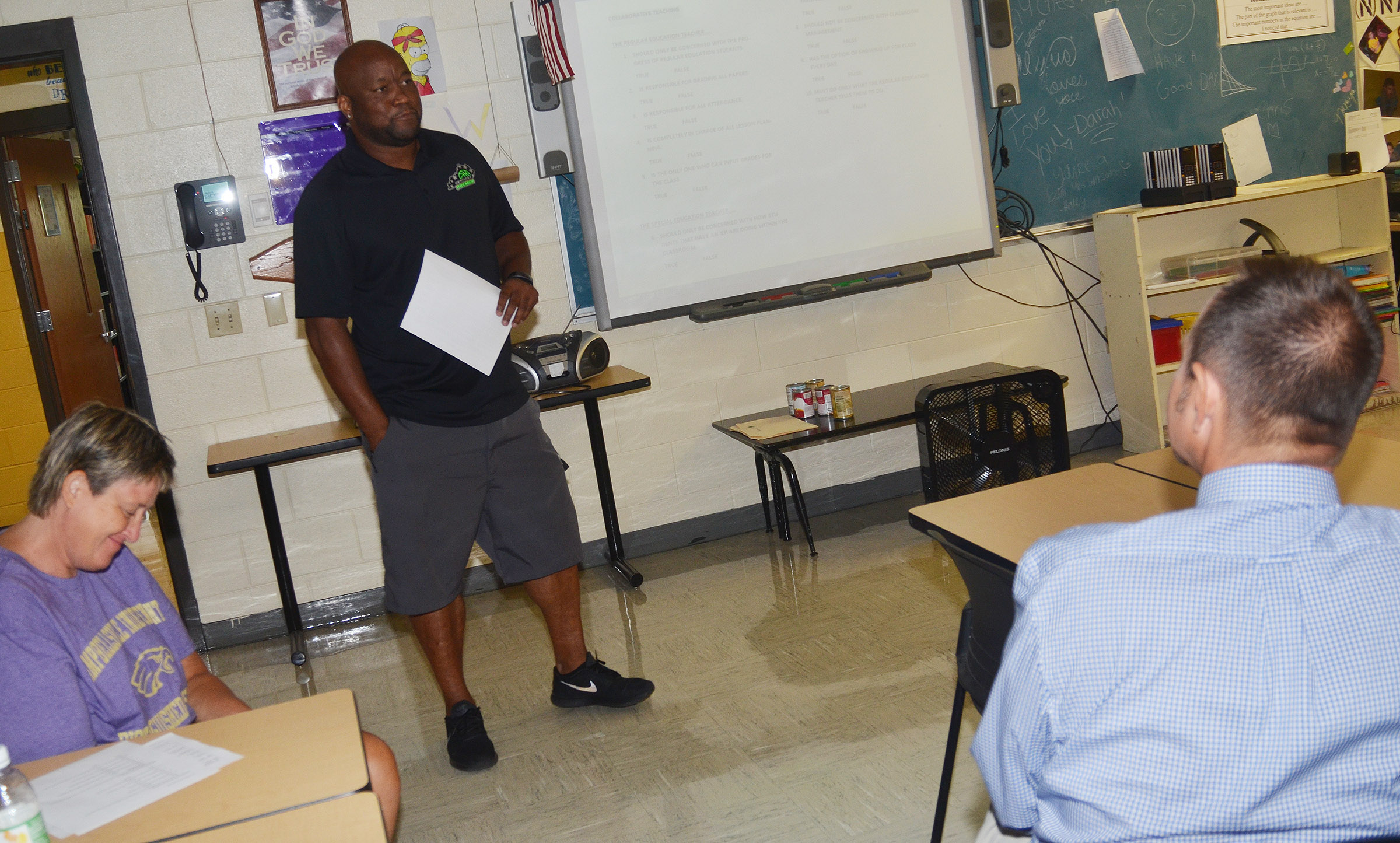 CHS exceptional child educator Anthony Epps teaches a session about collaborative teaching and building student relationships.