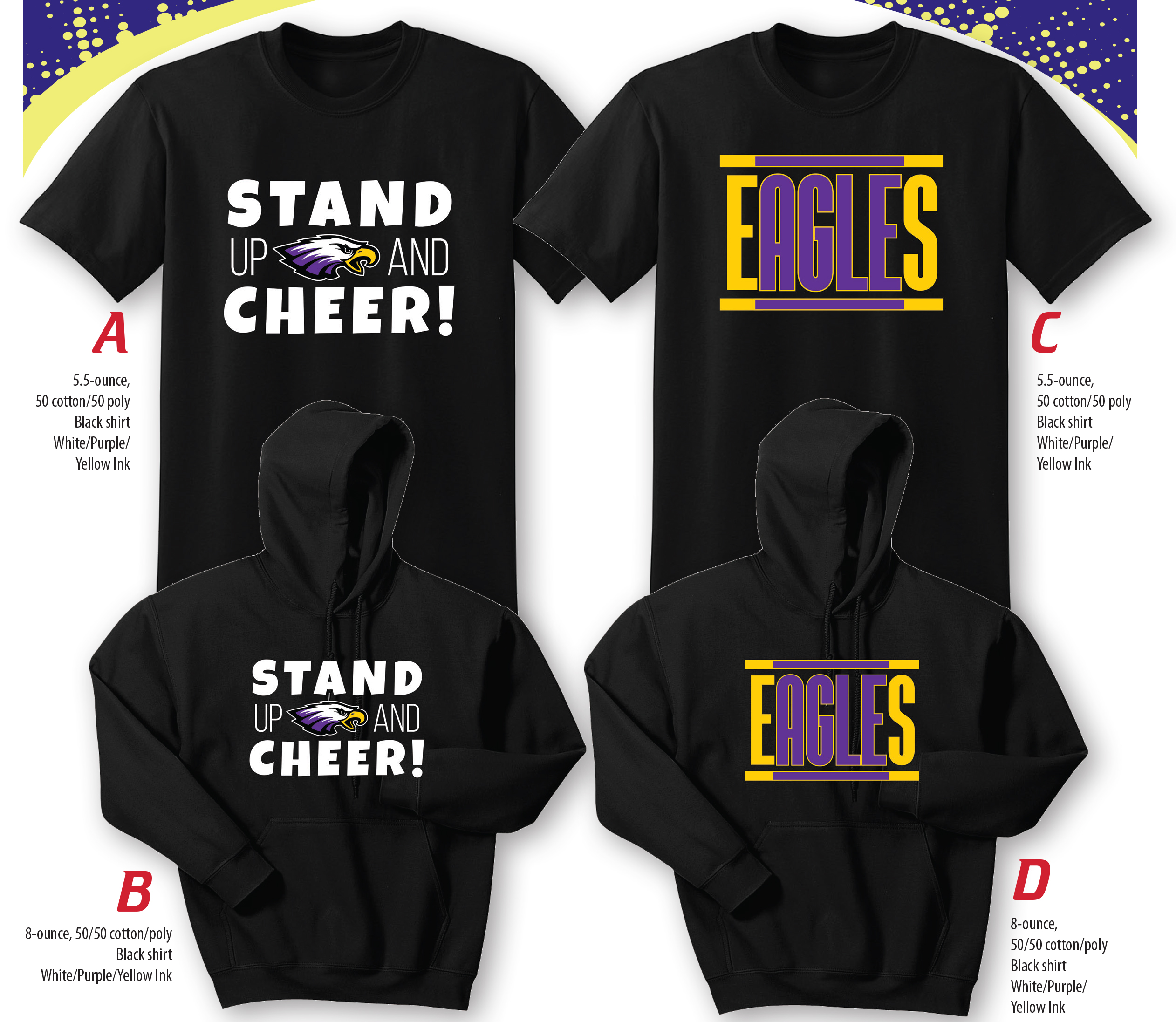 "Campbellsville Independent Schools Relay for Life team is selling t-shirts and hoodies to raise money for the American Cancer Society.    This year's shirts feature two designs.    The first includes the words ""Stand Up and Cheer!"" and the Eagle logo.    The other includes the word Eagles in purple and gold lettering."