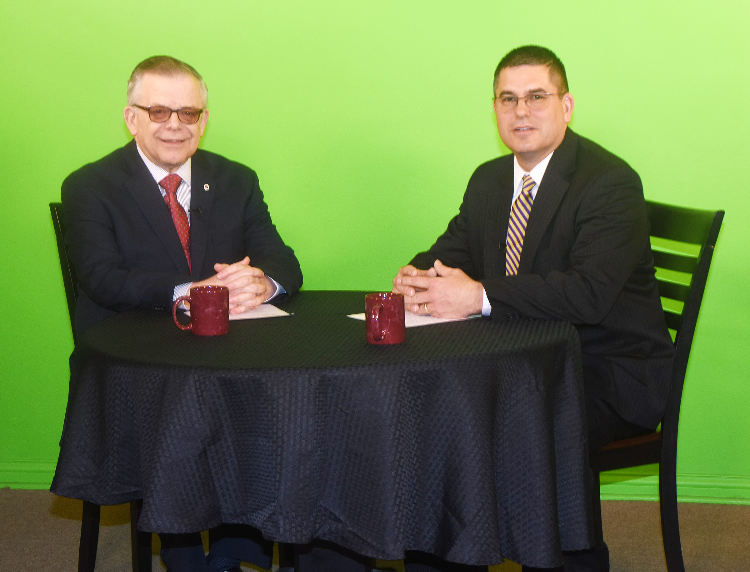 "Campbellsville Independent Schools Superintendent Kirby Smith, at right, will appear on an upcoming episode of Campbellsville University's television show ""Dialogue on Public Issues,"" with host John Chowning, executive assistant to the president for government, community and contingent relations."
