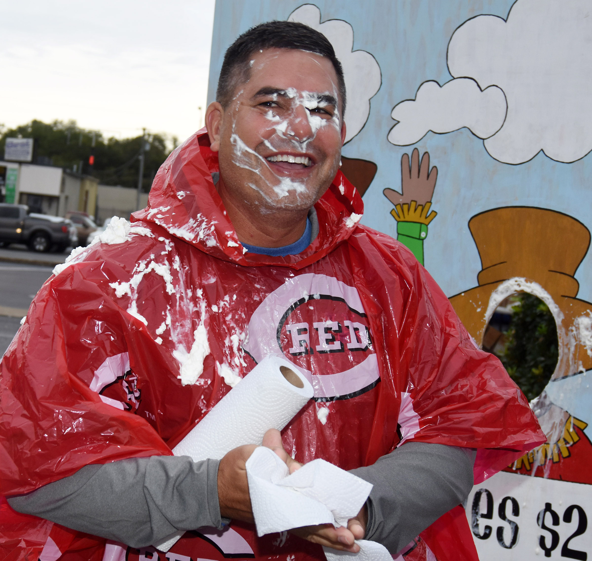 CIS Superintendent Kirby Smith smiles after being hit with a pie.