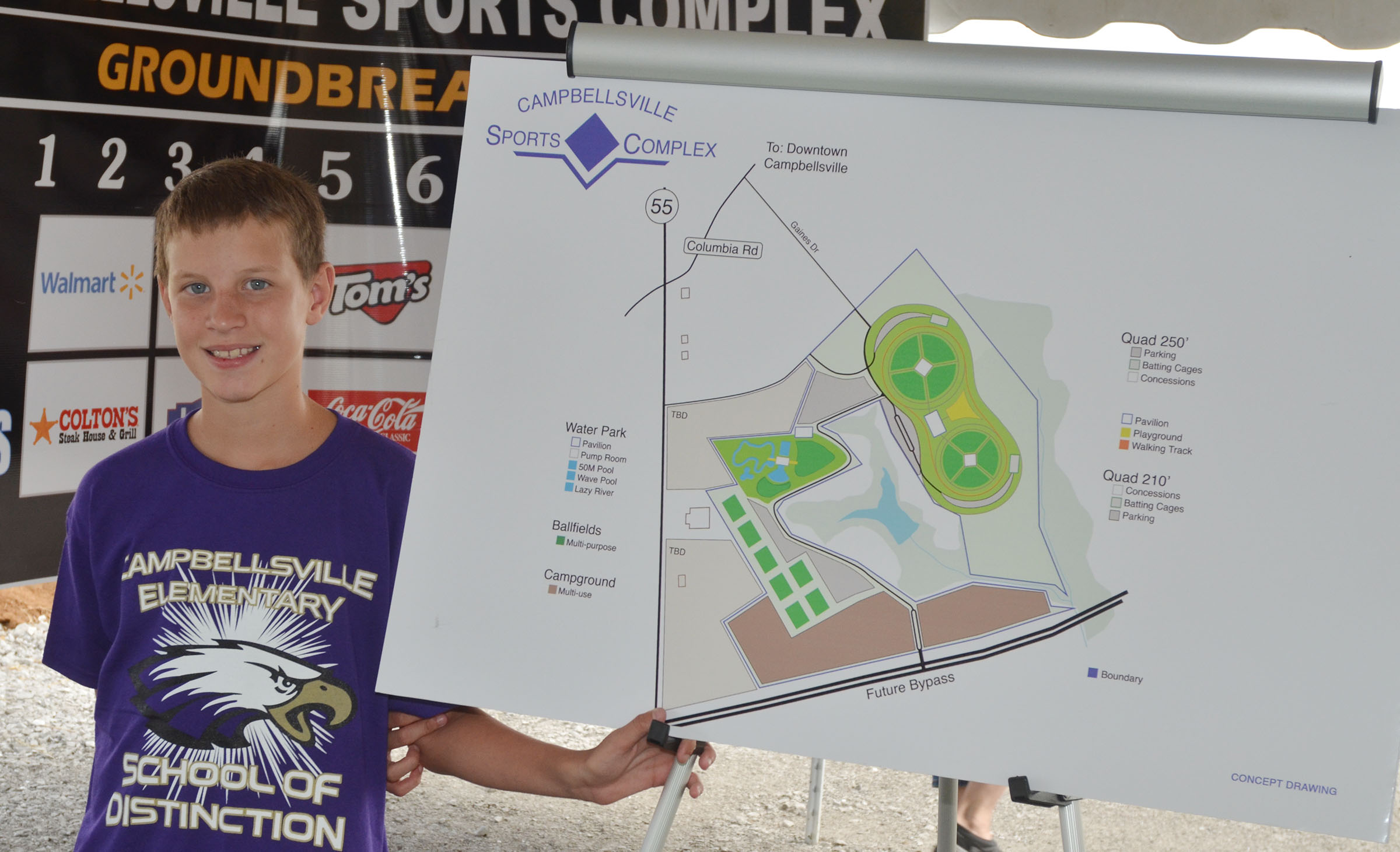 CES fifth-grader Rowan Petett holds a drawing of the Campbellsville Sports Complex.