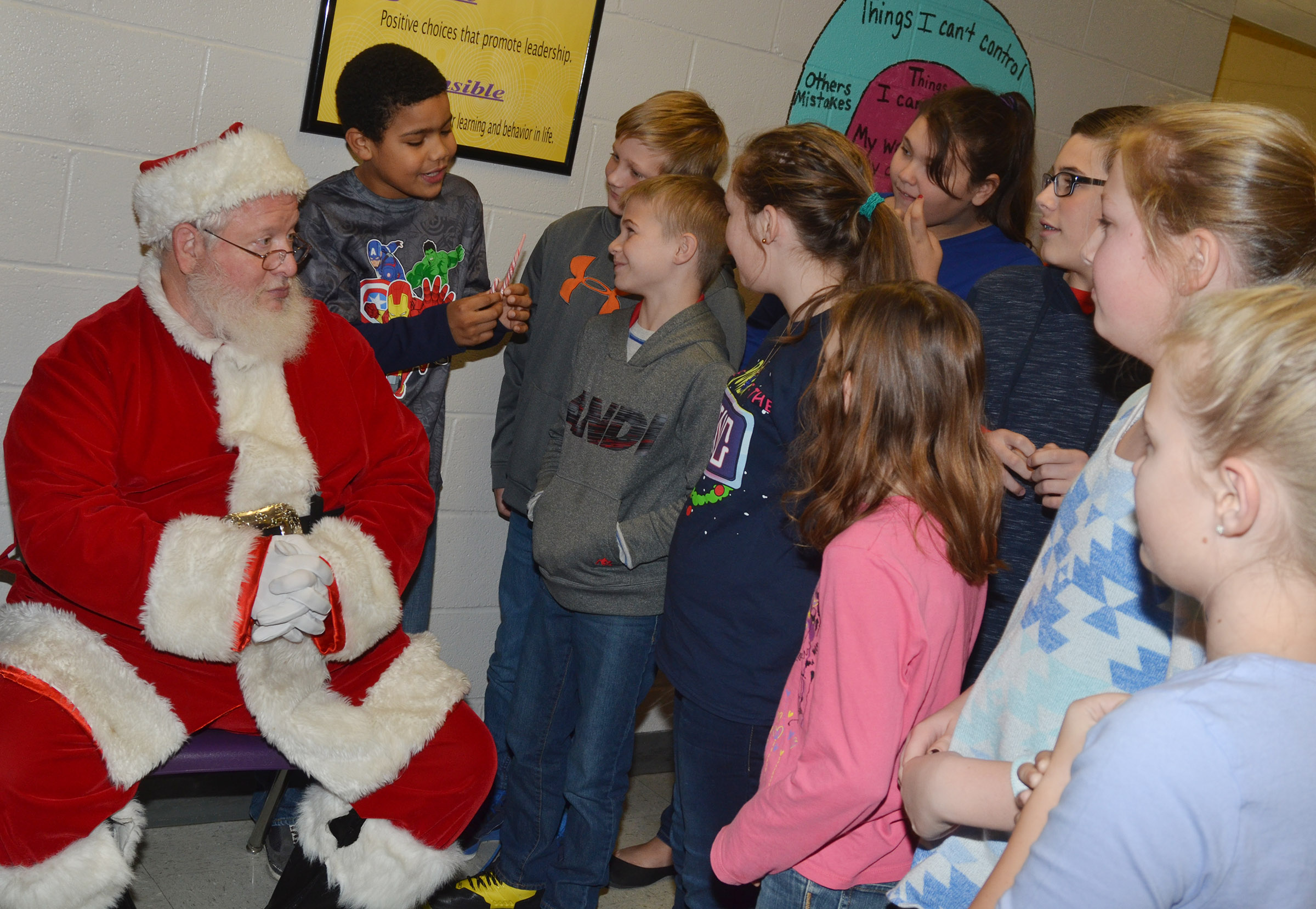 CMS fourth- and fifth-graders visit with Santa.