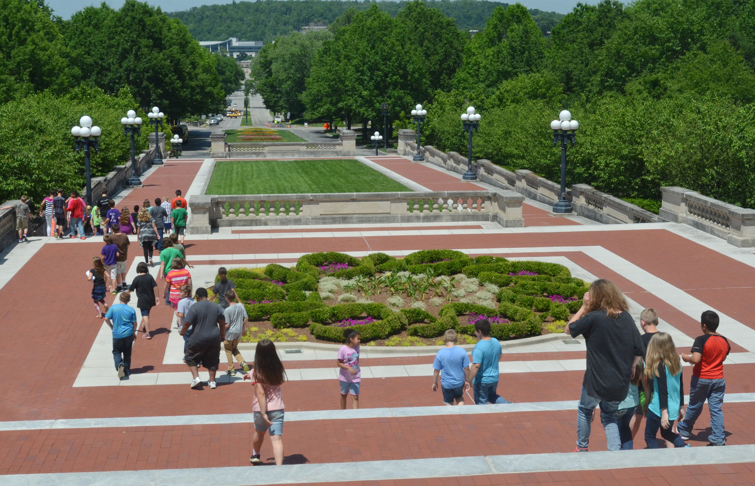 CMS fourth-graders walk down the capitol steps.