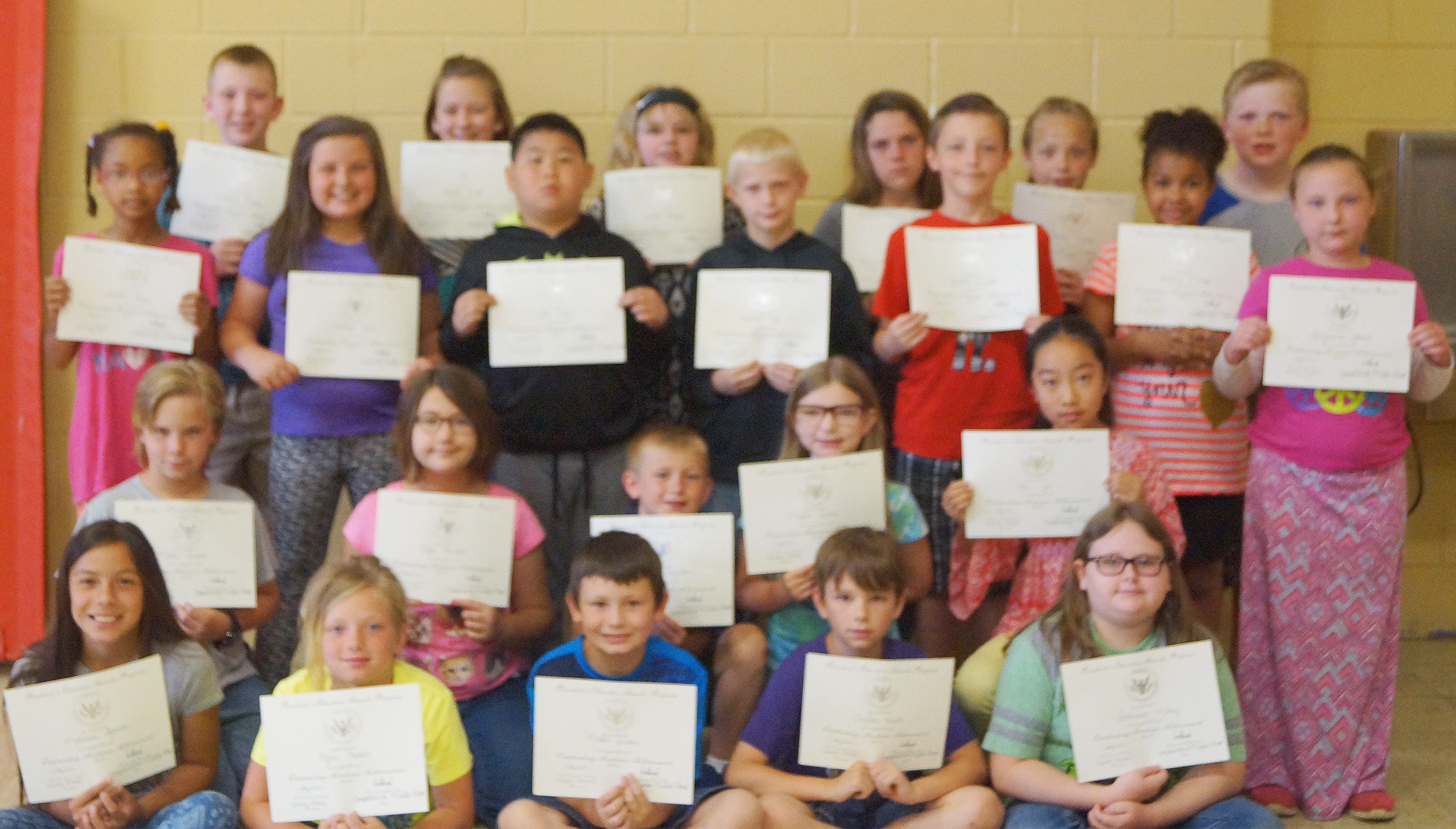 Fourth-graders receiving the president's award for educational achievement are, from left, front, Marissa Segura, Kyra Parker, Mason Fisher, Taylan Hunt and Savannah Milby. Second row, Thomas Tungate, Kylee Sowders, Arthur Singleton, Morgan Spears and Yu Zhi. Third row, Lillian Sears, Kaitlyn Keith, Zhi Chen, Bronson Cox, Jaxon Garrett, Serenity Mings and Shyanna Young. Back, Kaleb Miller, Isabel Dengel, Dakota Broyles, Summer Cothern, Deanna Reardon and Simon Wilkerson. Absent from the photo is Falicity Lewis.