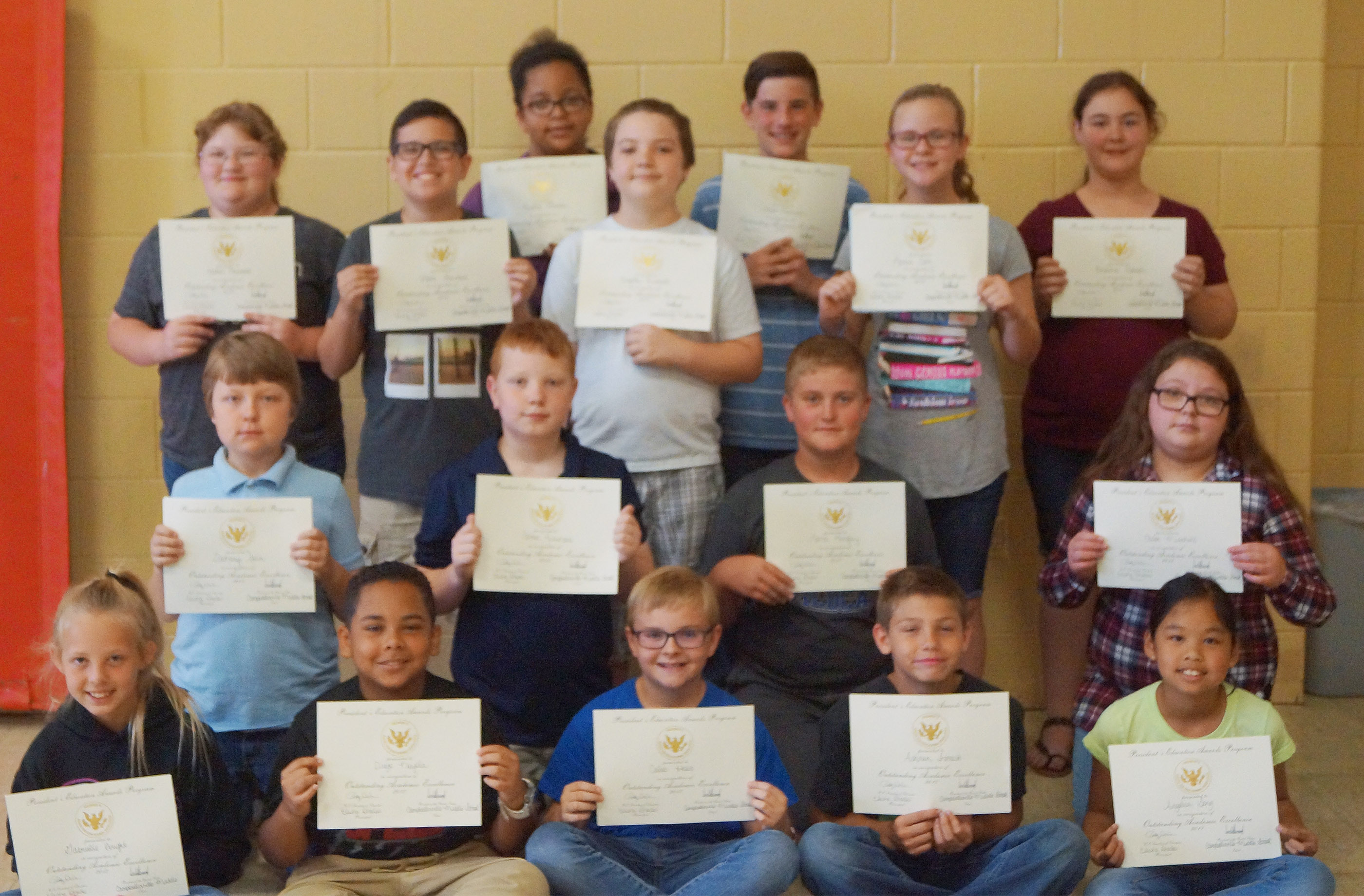 Fifth-grade students receiving the president's award for educational excellence are, from left, front, Gabby Bright, Diego Noyola, Caleb Holt, Ashtan Forrest and Angelica Seng. Second row, Zachary Akin, Conner Rinehart, Lance Knifley and Chloe Mitchell. Third row, Katlin Rainwater, Chase Lawless, Kayden Birdwell, Karlie Cox and Brianna Dobson. Back, Kiara Graves and Isaac Garrison. Absent from the photo is Ryan Grubbs.