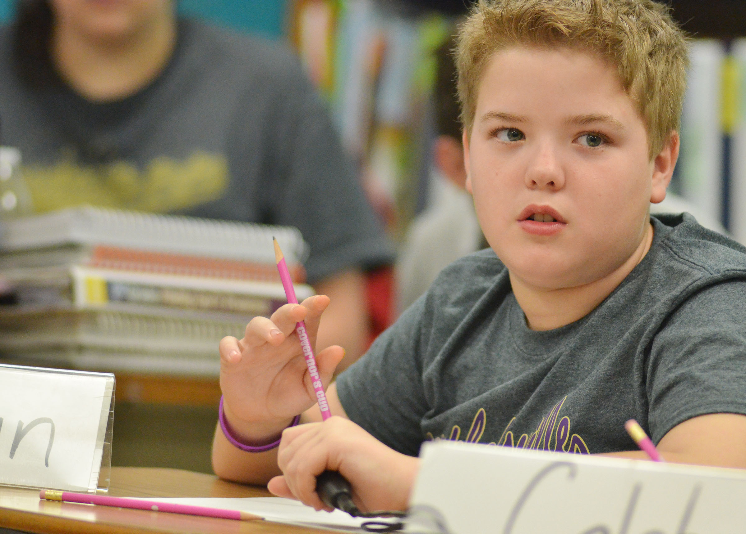CMS fifth-grader Ryan Grubbs listens to a question during a quick recall match.