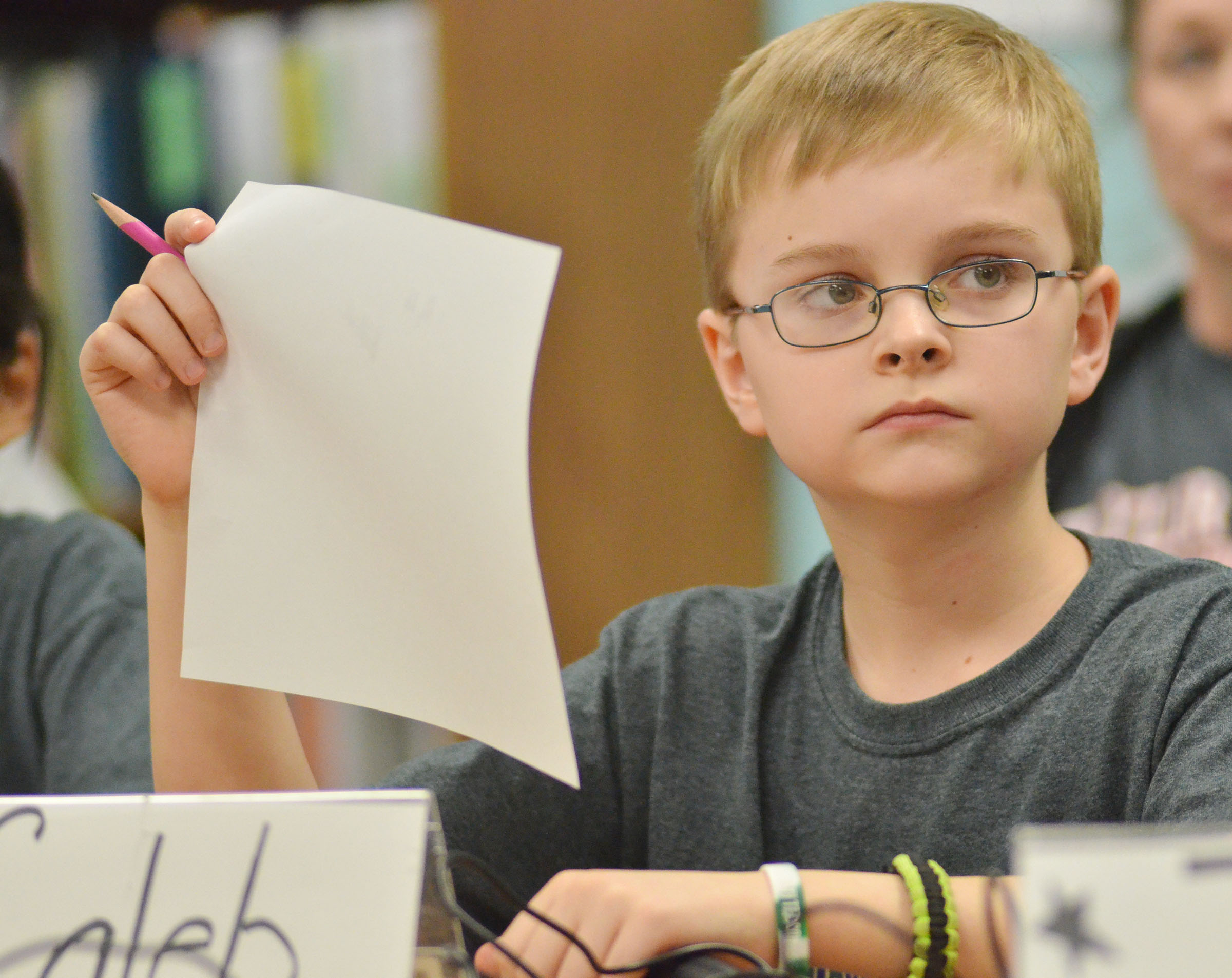 CMS fifth-grader Caleb Holt listens to a question during a quick recall match.