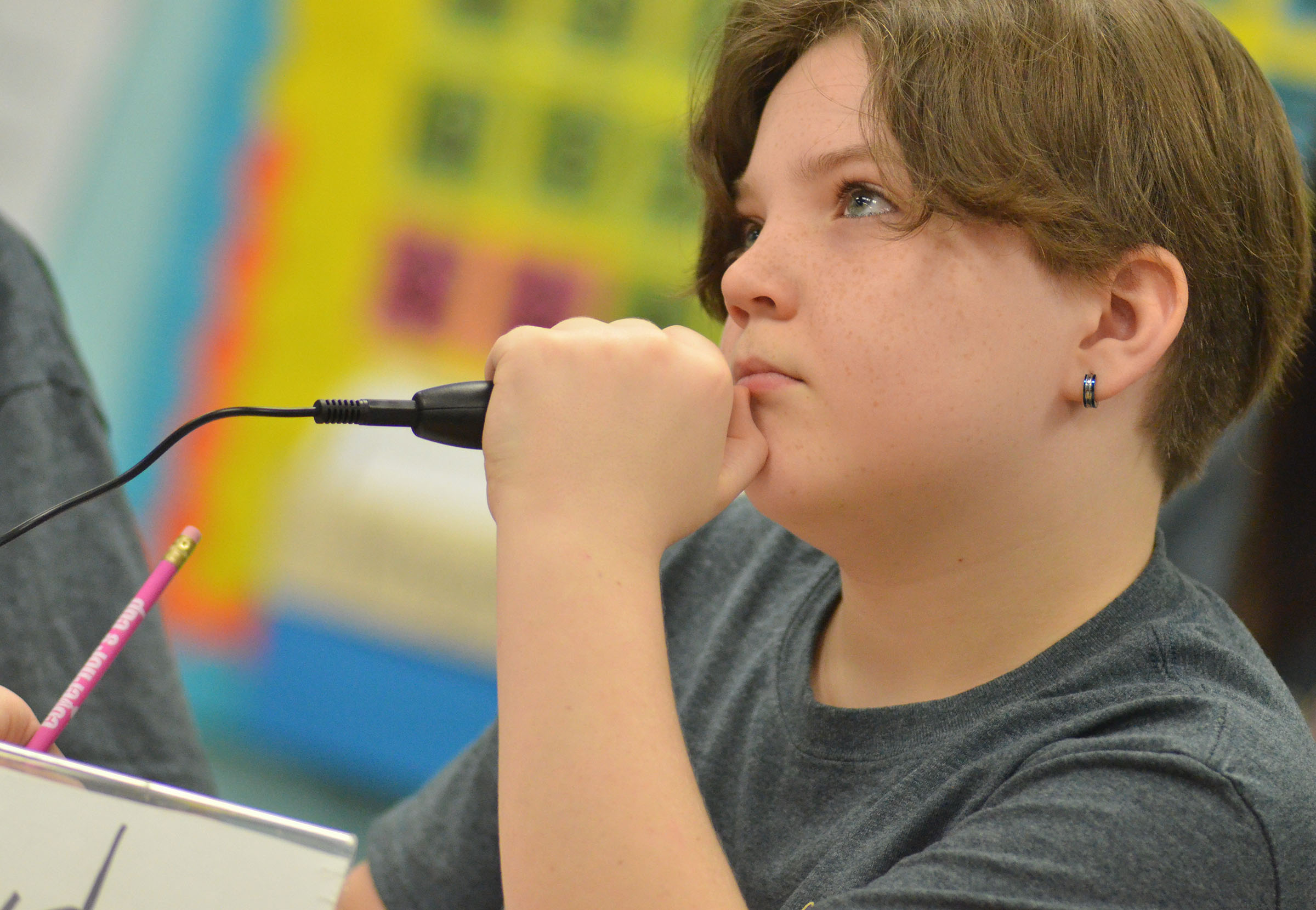 CMS fifth-grader Kayden Birdwell thinks about a question during a quick recall match.