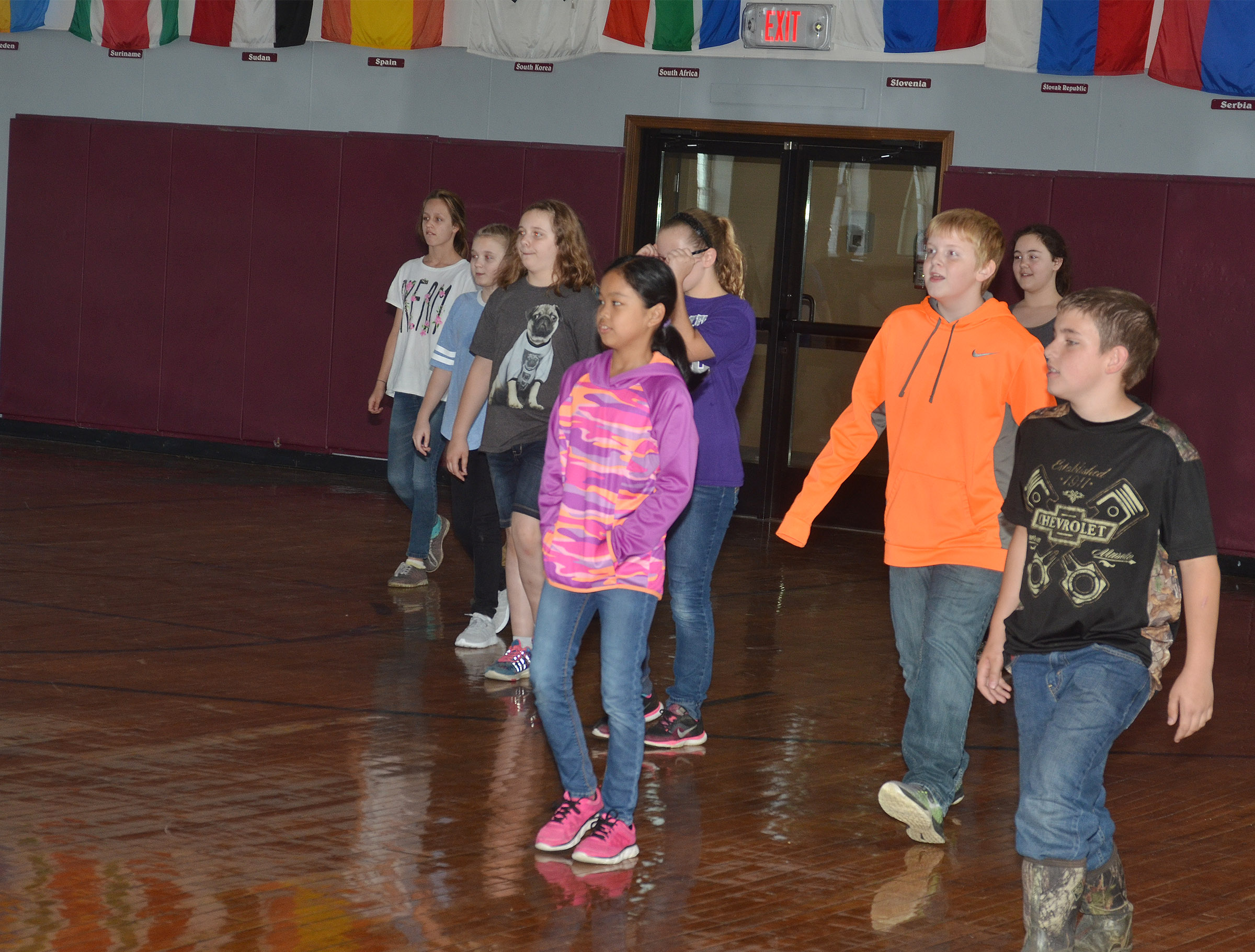 CMS fifth-graders play traffic light at the Student Activities Center.