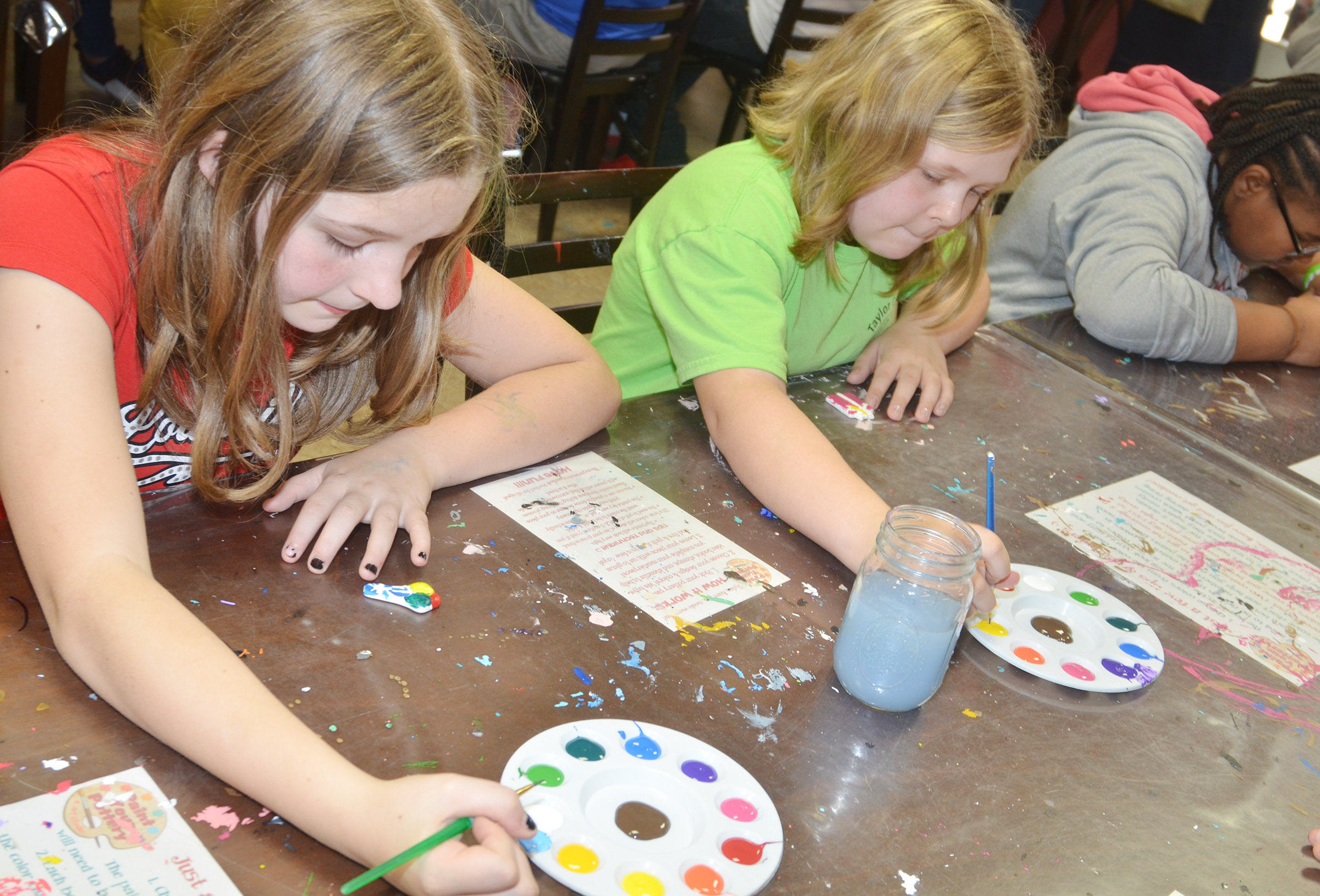 CMS fifth-graders Mallory Parker, at left, and Alexis Sharp paint.