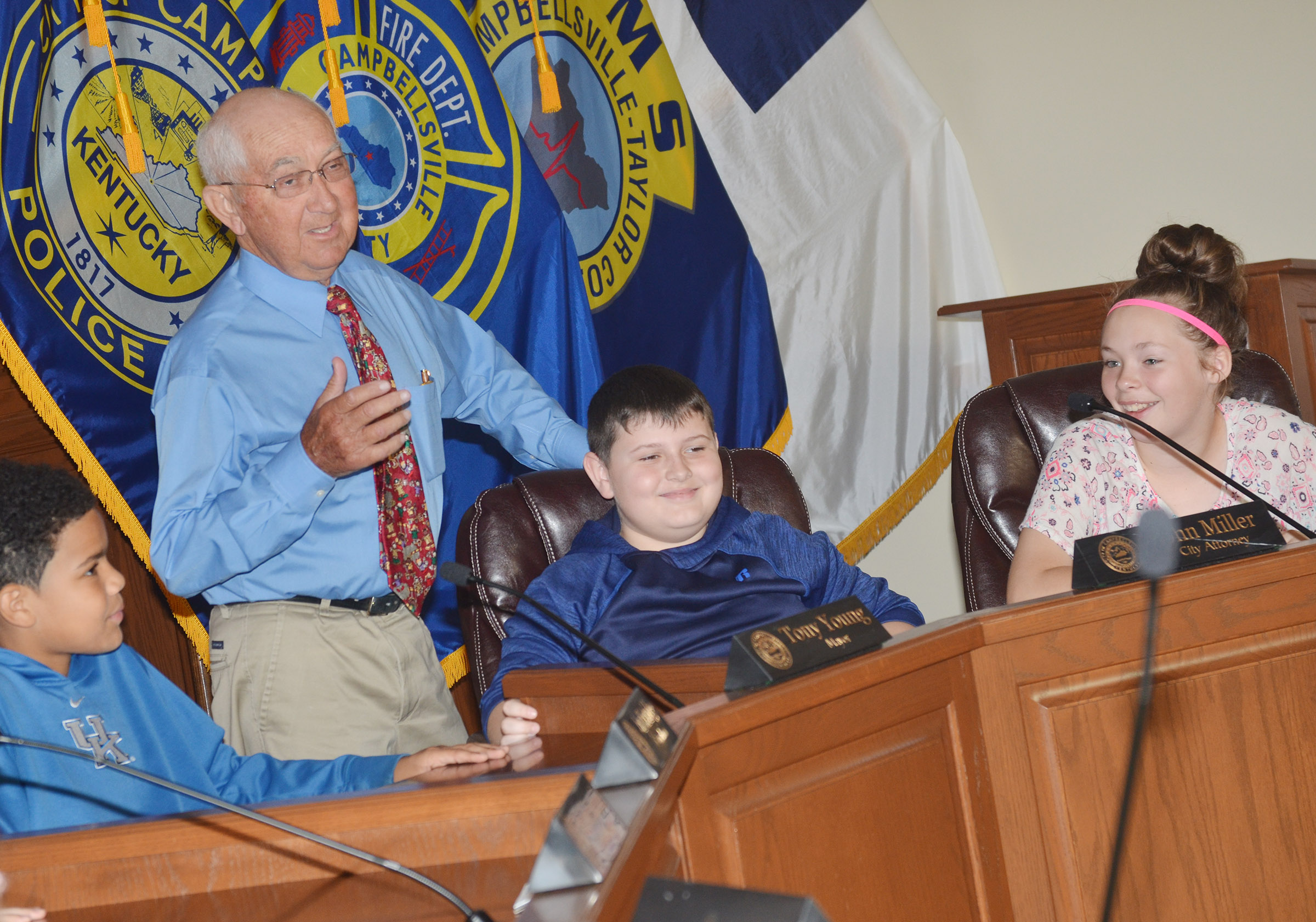 Former Campbellsville Mayor Paul Osborne talks to CMS fifth-graders about the city attorney's job. Fifth-grader Dawson Creason portrayed the city attorney.
