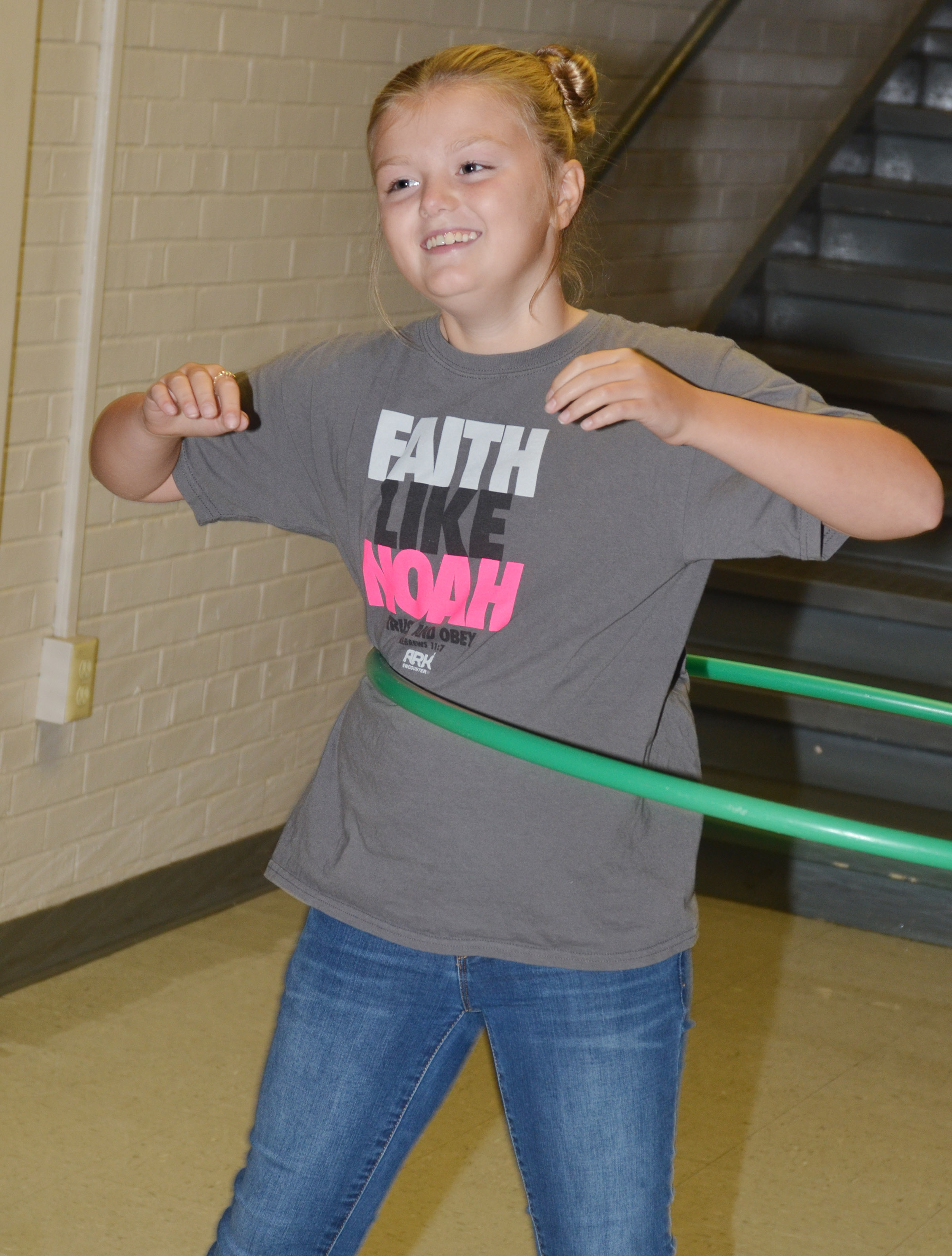 CMS sixth-grader Ellington Gowin hula hoops during her Sharpen the Saw time.