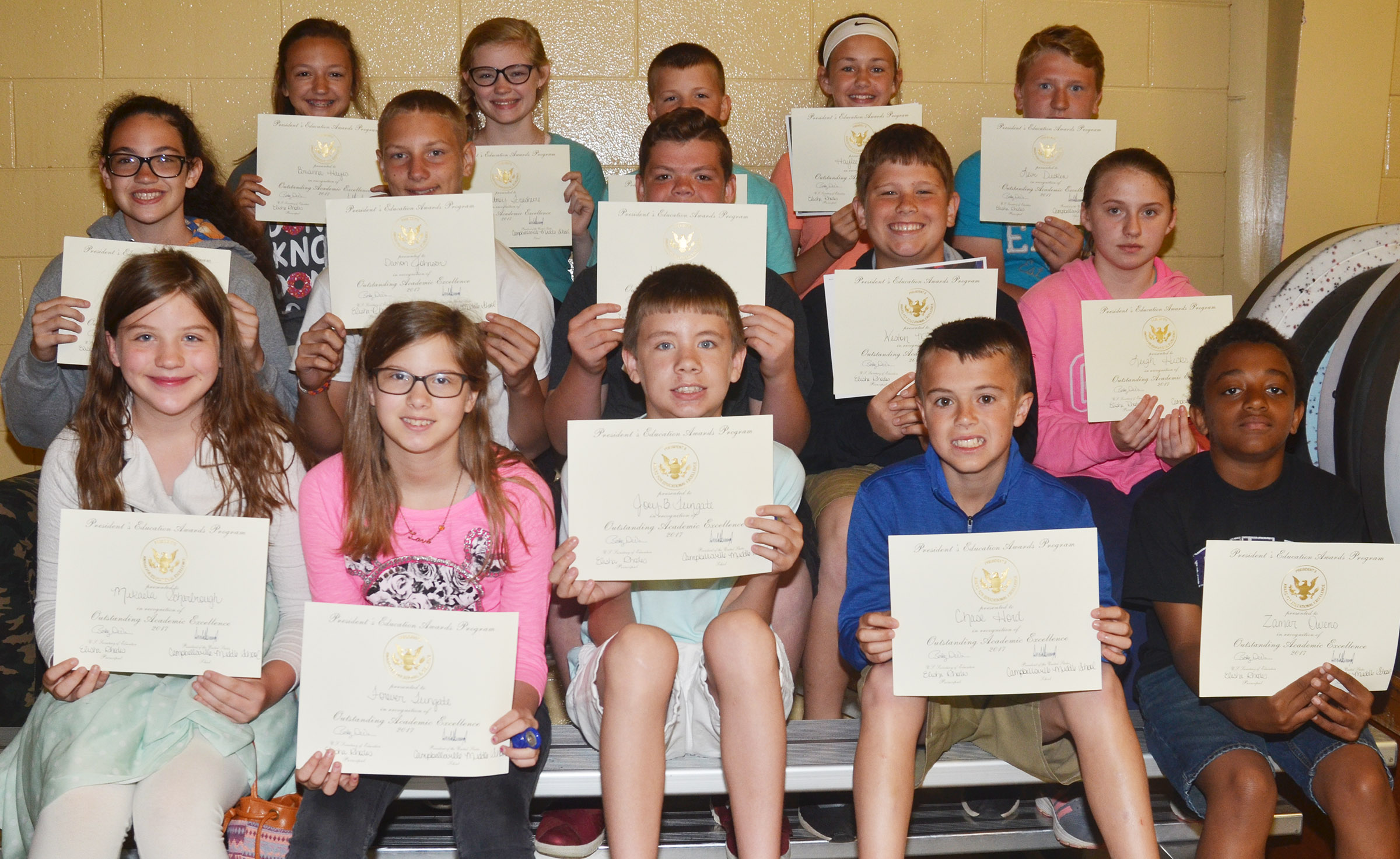 Sixth-grade president's award for educational excellence winners are, from left, front, Mikaela Scharbrough, Forever Tungate, Blake Tungate, Chase Hord and Zamar Owens. Second row, Mary Russell, Damon Johnson, Hayden Jones, Weston Mattingly and Leigh Hicks, Back, Bri Hayes, Whitney Frashure, Konner Forbis, Haylee Allen and Levi Dicken.