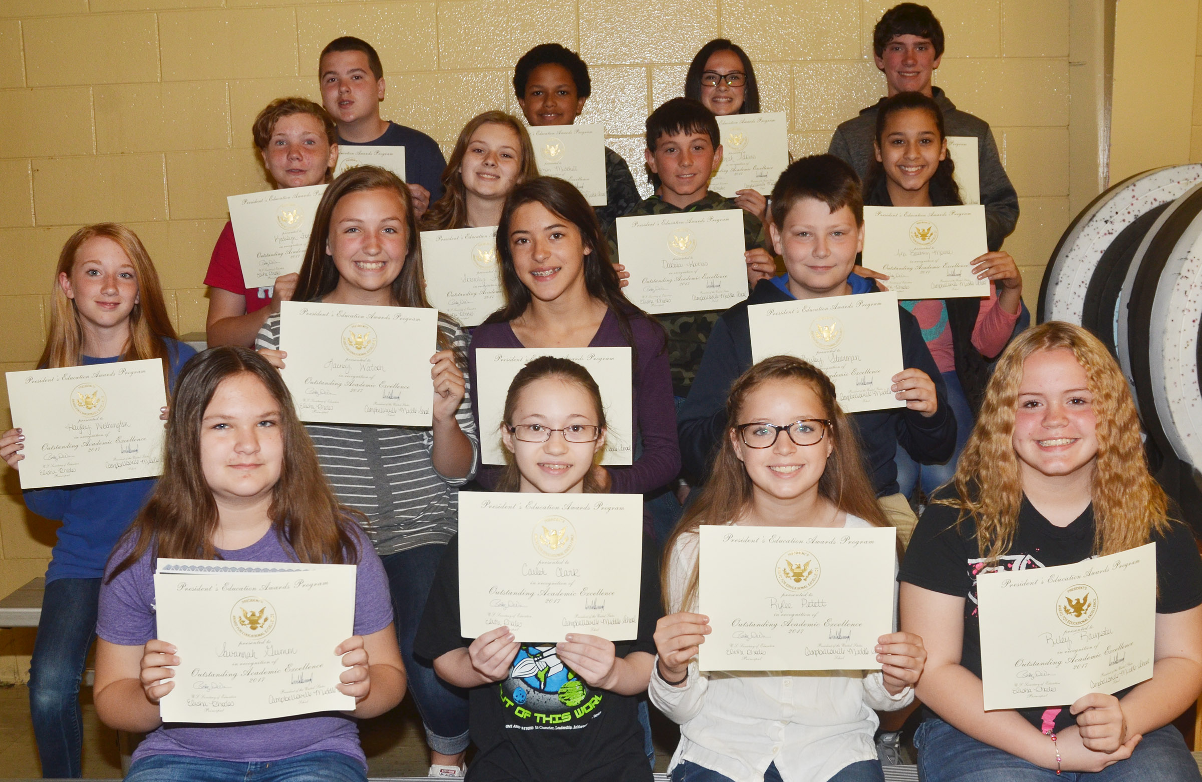 Seventh-grade president's award for educational excellence winners are, from left, front, Savannah Gumm, Cailet Clark, Rylee Petett and Riley Rainwater. Second row, Hayley Wethington, Lainey Watson, Kaylyn Smith and Bailey Stearman. Third row, Katilyn Forrest, Serenity Ford, Dakota Harris and Bia Moura. Back, Jack Sabo, Tezon Mitchell, Sarah Adkins and Peyton Dabney.