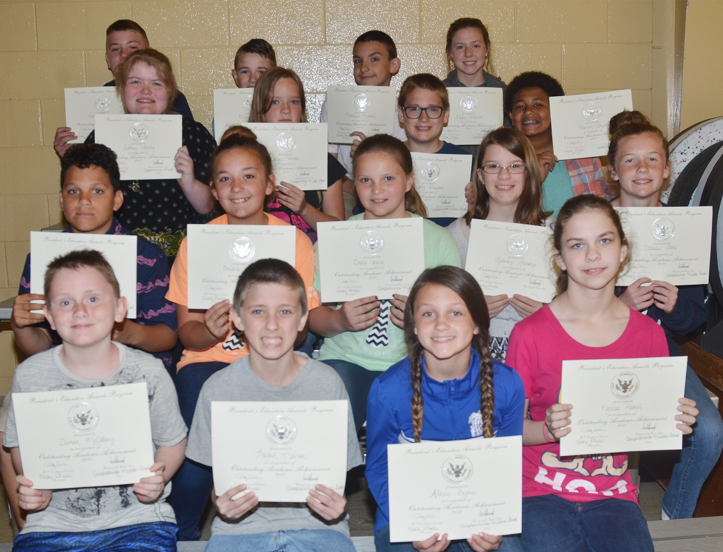 Sixth-grade president's award for educational achievement winners are, from left, front, Zavian McColley, seventh-grader Logan Nelson, Alexis Byers and Karlee Rakel. Second row, Kaydon Taylor, Briana Davis, Gracie Crews, Liberty Albrecht and Dakota Slone. Third row, Aubrey Young, Tonya Parker, Brady Hoosier and Ronin Smith. Back, Wesley Reynolds, Bryce Newton, Nathaniel Mitchell and Alysa Howard.