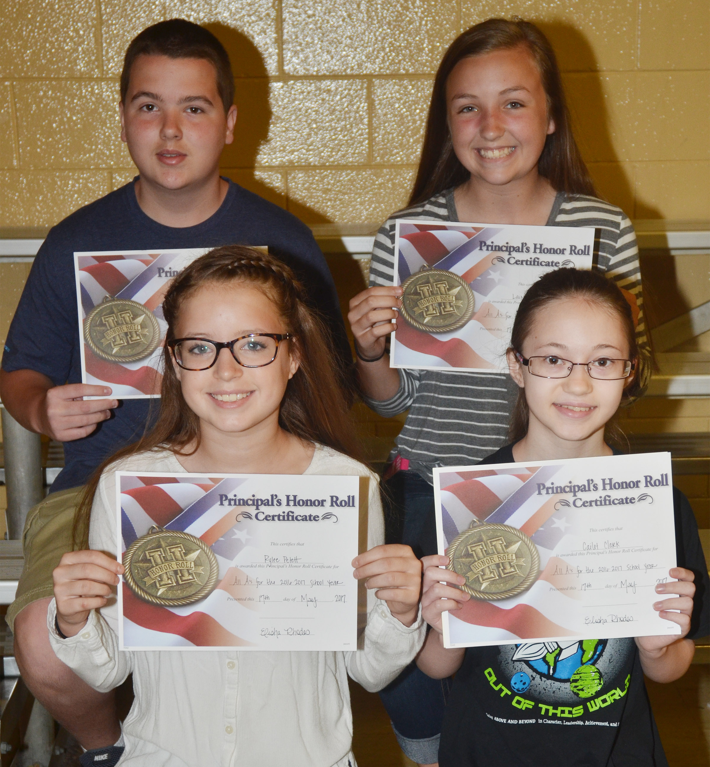 Seventh-grade principal's honor roll award winners are, from left, front, Rylee Petett and Cailet Clark. Back, Jack Sabo and Lainey Watson.