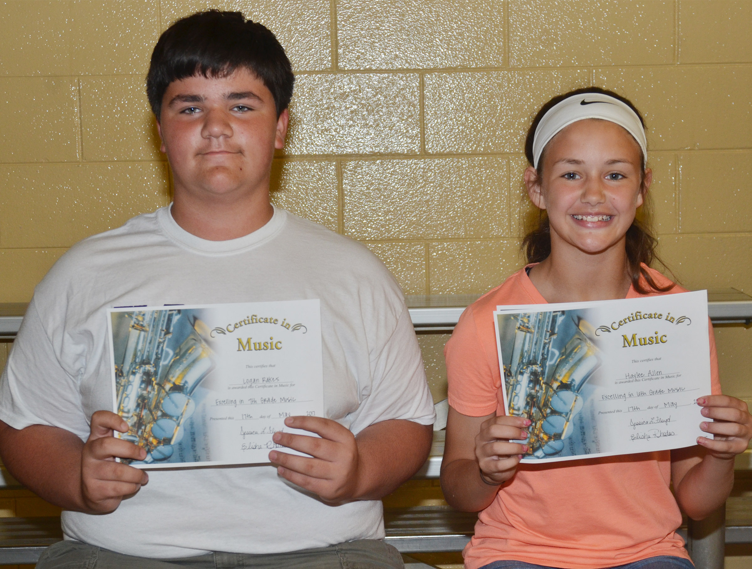 General music awards went to seventh-grader Logan Rakes and sixth-grader Haylee Allen.
