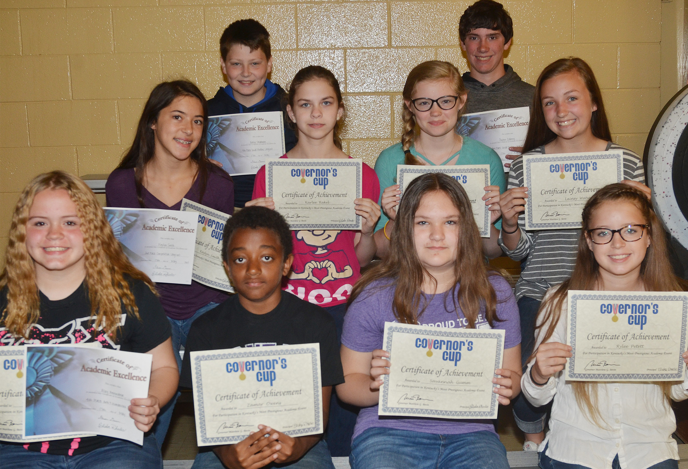 Academic team awards went to, from left, front, seventh-grader Riley Rainwater, sixth-grader Zamar Owens and seventh-graders Savannah Gumm and Rylee Petett. Back, seventh-grader Kaylyn Smith, sixth-graders Karlee Rakel and Whitney Frashure and seventh-grader Lainey Watson. Back, seventh-graders Bailey Stearman and Peyton Dabney.