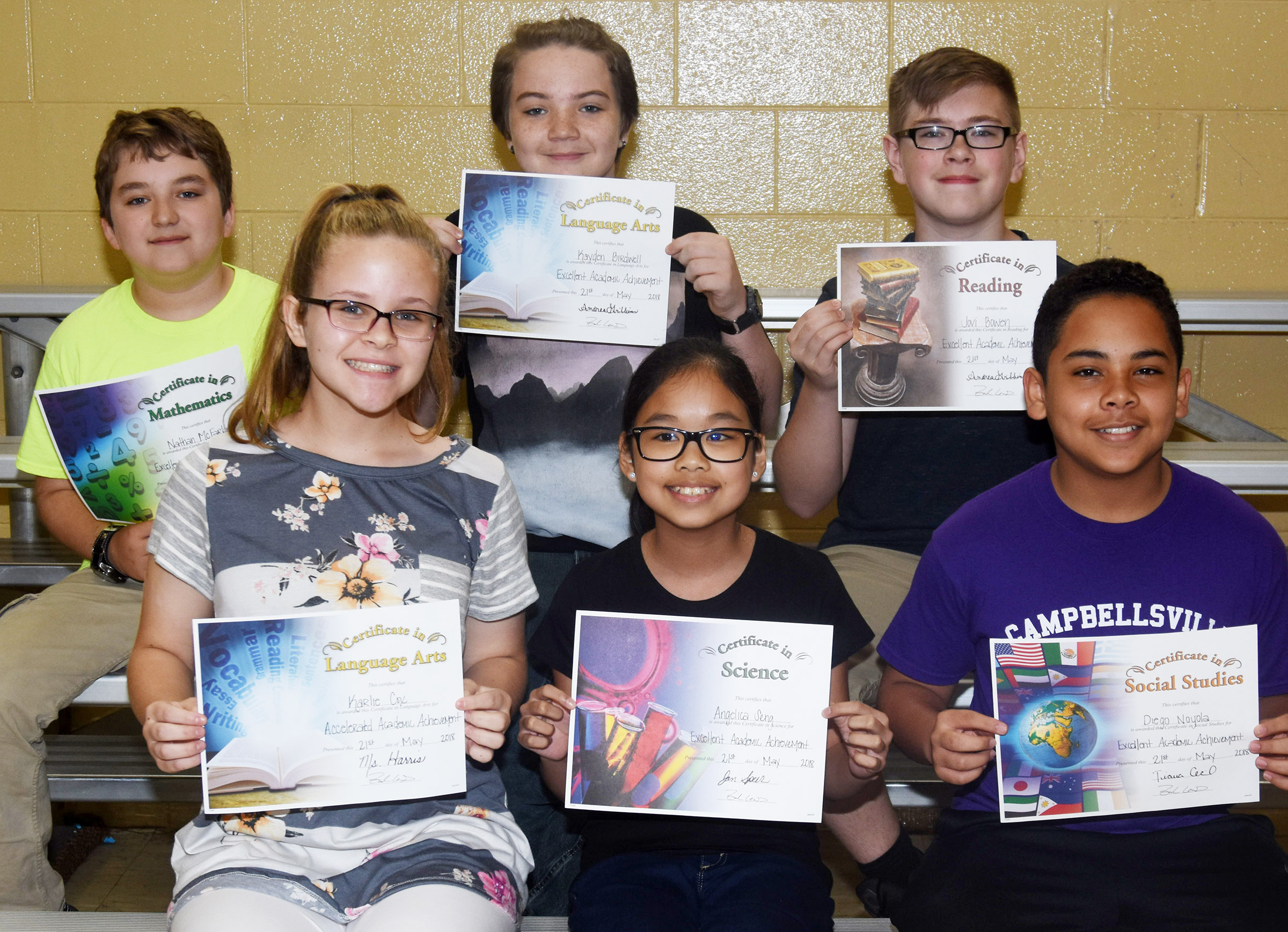 Sixth-grade subject award winners are, from left, front, Karlie Cox, accelerated language arts; Angelica Seng, science; and Diego Noyola, social studies. Back, Nathan McFarland, math; Kayden Birdwell, language arts; and Jovi Bowen, reading.
