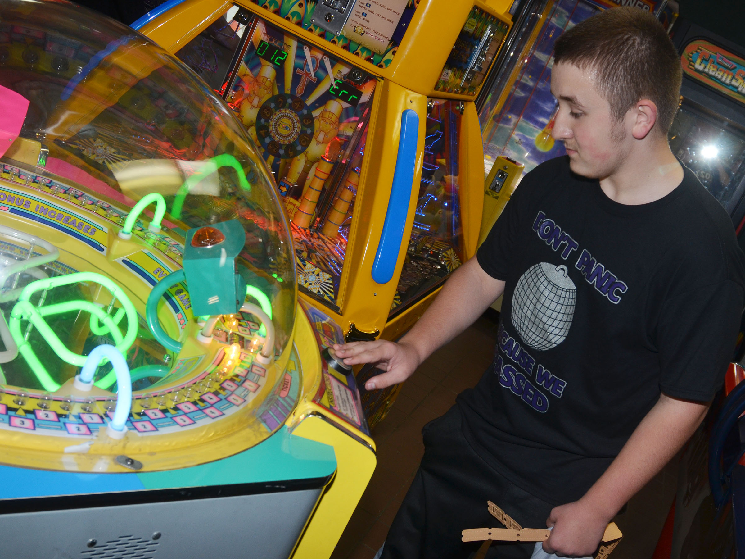CMS eighth-grader Zachary Shaw plays games.