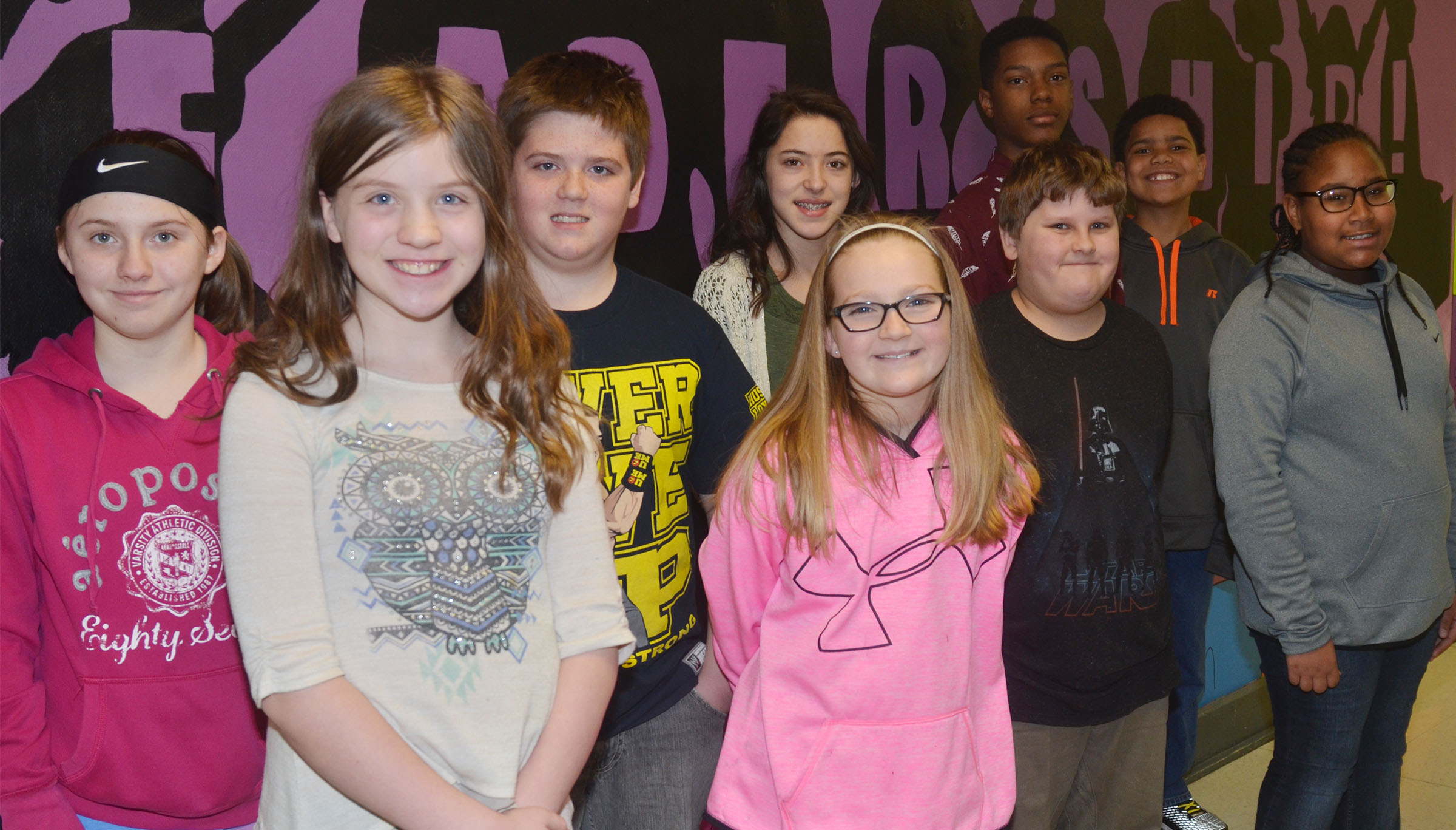 Campbellsville Middle School students were recognized at the Campbellsville Board of Education meeting on Monday, March 13, for receiving Academic Achiever awards. From left are sixth-graders Destiny Hicks and Mikeala Scharbrough, seventh-graders Zachary Underwood and Kaylyn Smith, fourth-graders Lilyan Murphy and Zeke Harris, eighth-grader Zaquan Cowan and fifth-graders Tashaun Hart and KyAshia Mitchell. Absent from the photo are eighth-graders Taylor Whaley and Sheddy Taylor.