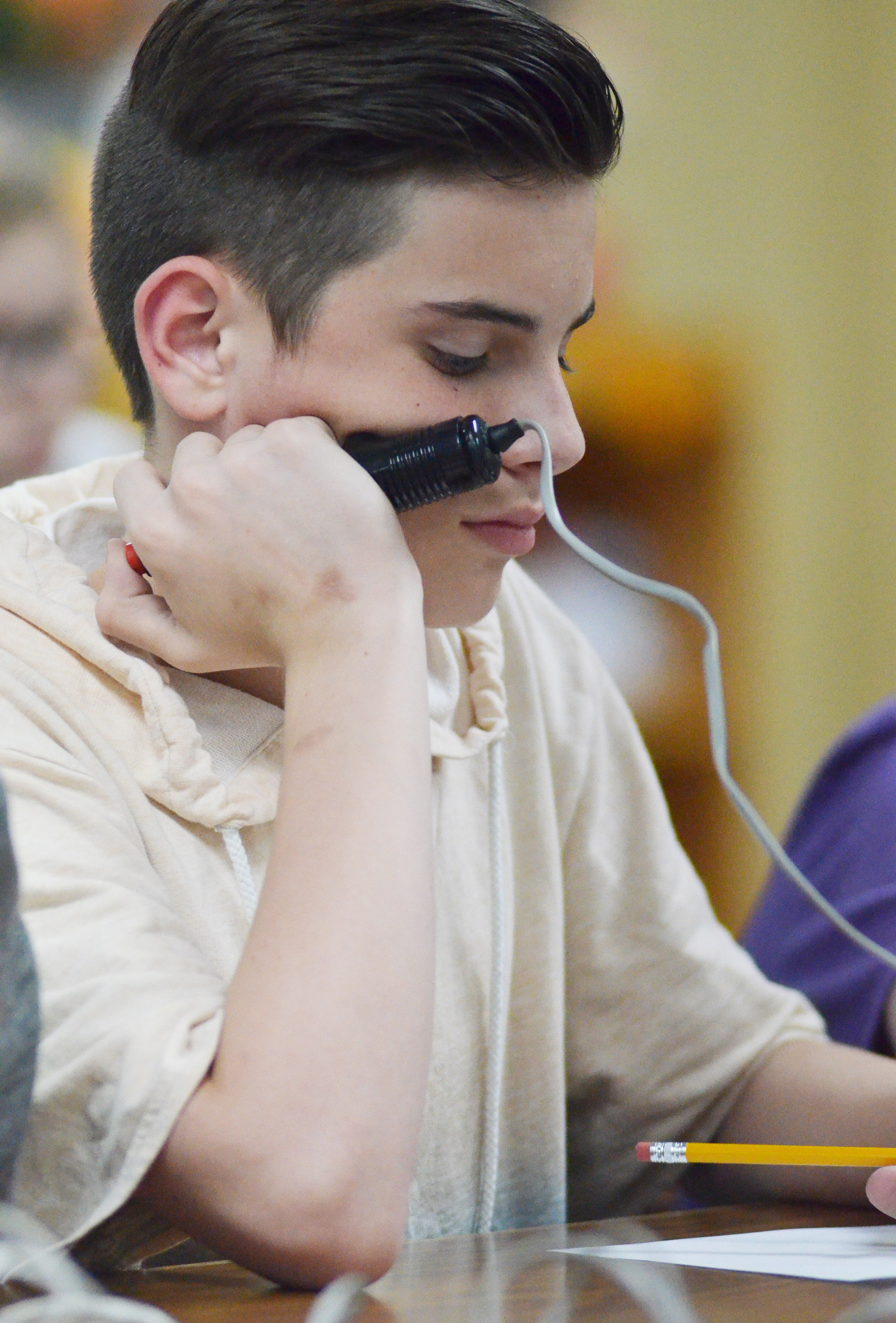 CMS sixth-grader Isaac Garrison listens to a question.