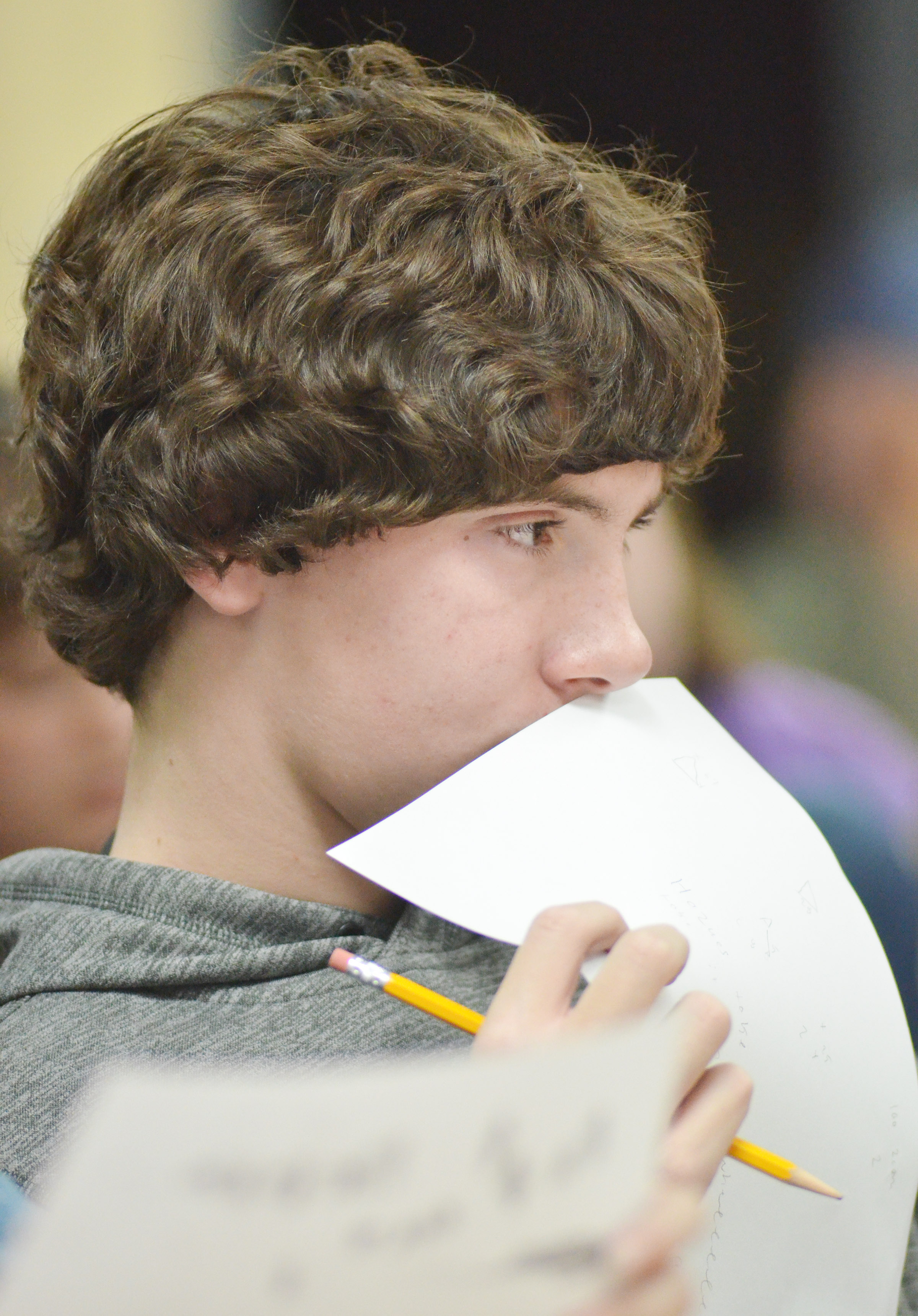 CMS eighth-grader Peyton Dabney listens to a question.