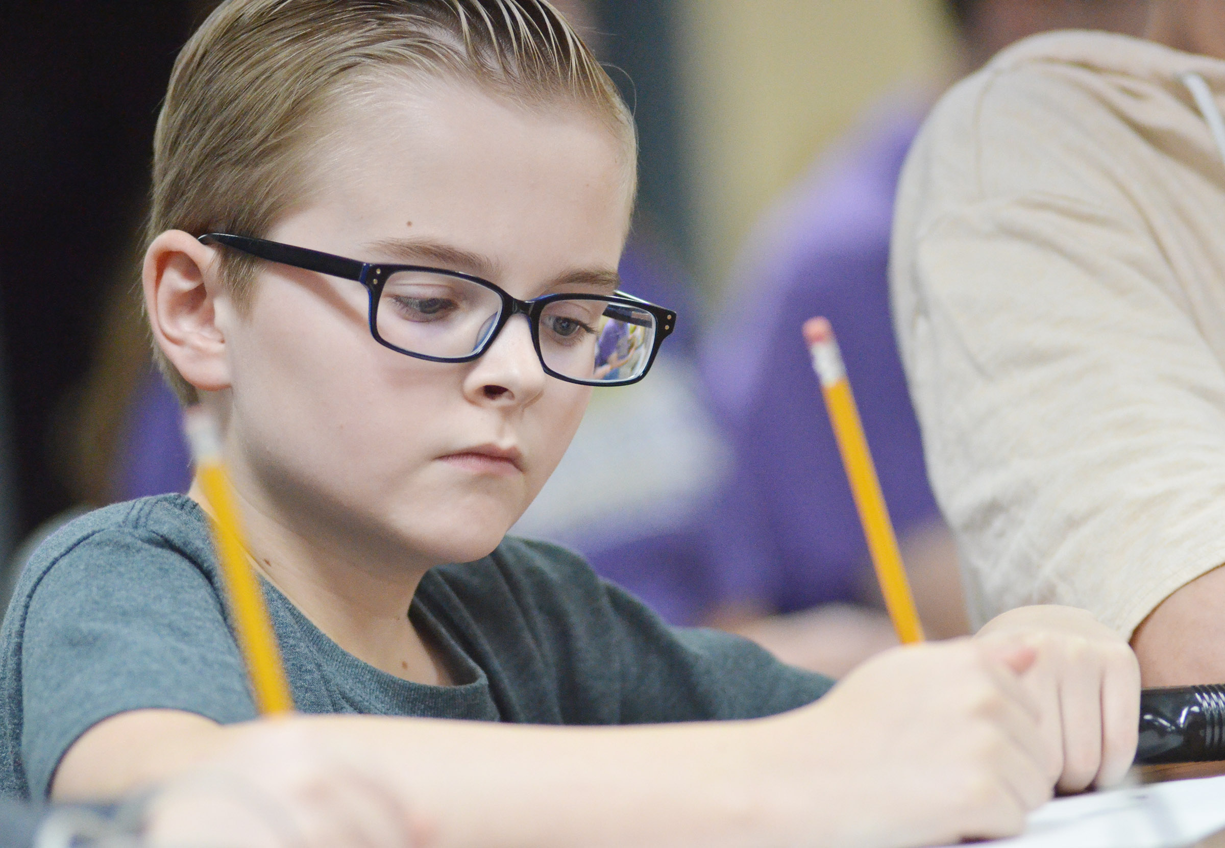 CMS sixth-grader Caleb Holt works a math problem.
