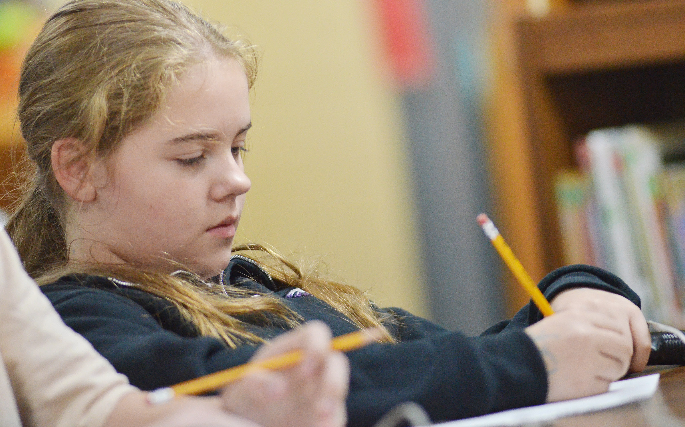 CMS sixth-grader Layla Steen works a math problem.